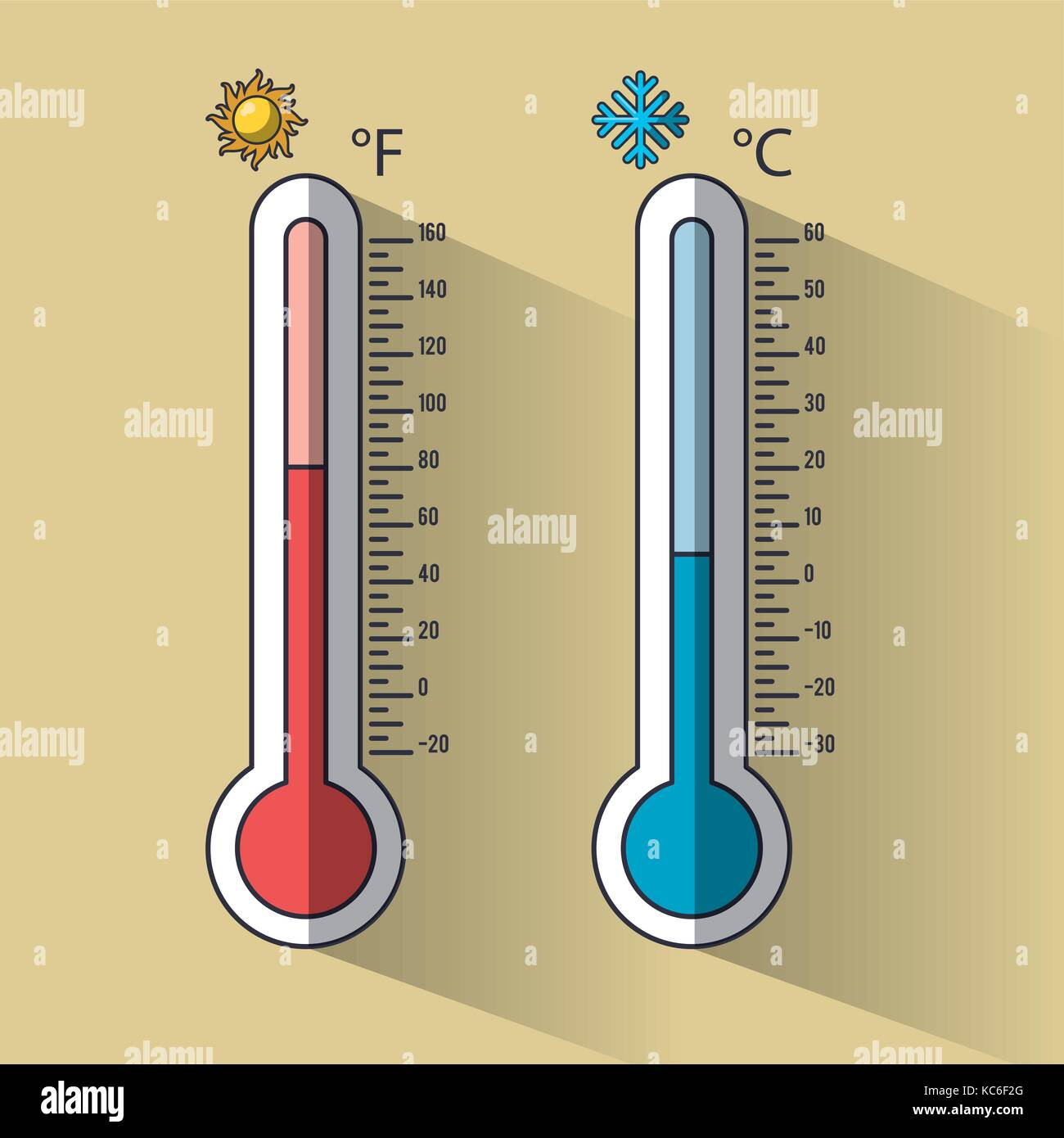 Cold and hot thermometer temperature - Stock Vector