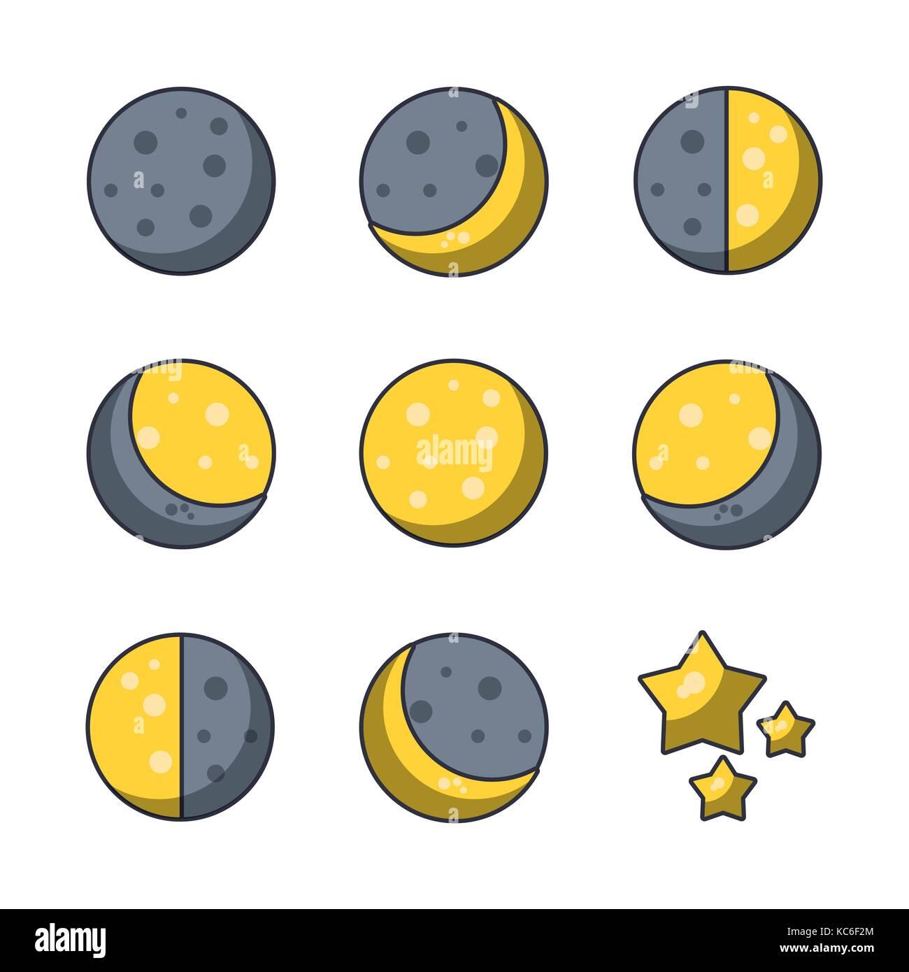 Moons icons set - Stock Image