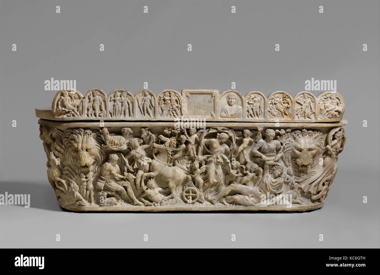 Marble sarcophagus with the myth of Selene and Endymion, early 3rd century A.D - Stock Image