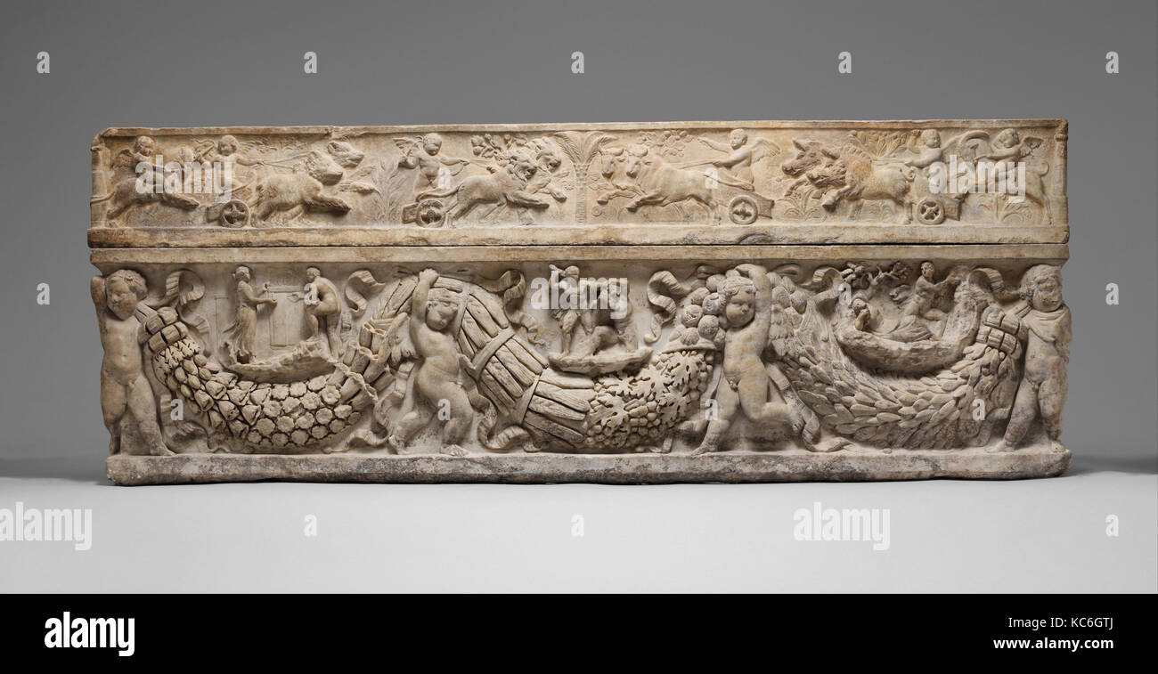 Marble sarcophagus with garlands and the myth of Theseus and Ariadne, ca. A.D. 130–150 - Stock Image