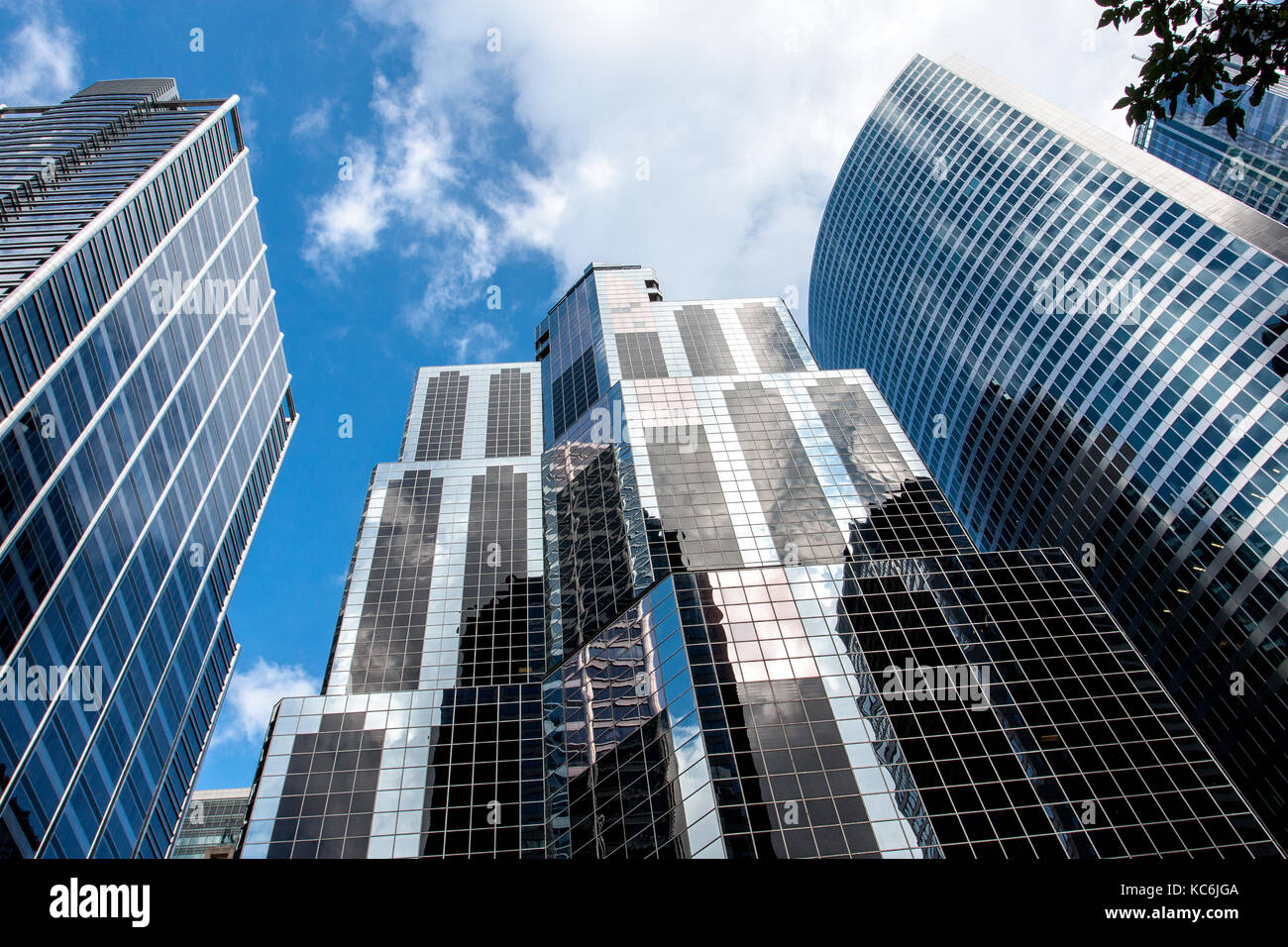 Skyscrapers of Chicago financial district and a cloudy sky. - Stock Image