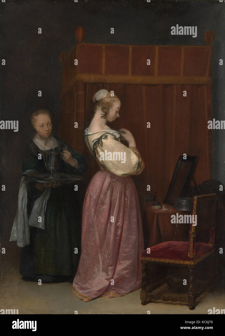 A Young Woman at Her Toilet with a Maid, Gerard ter Borch the Younger, ca. 1650–51 - Stock Image