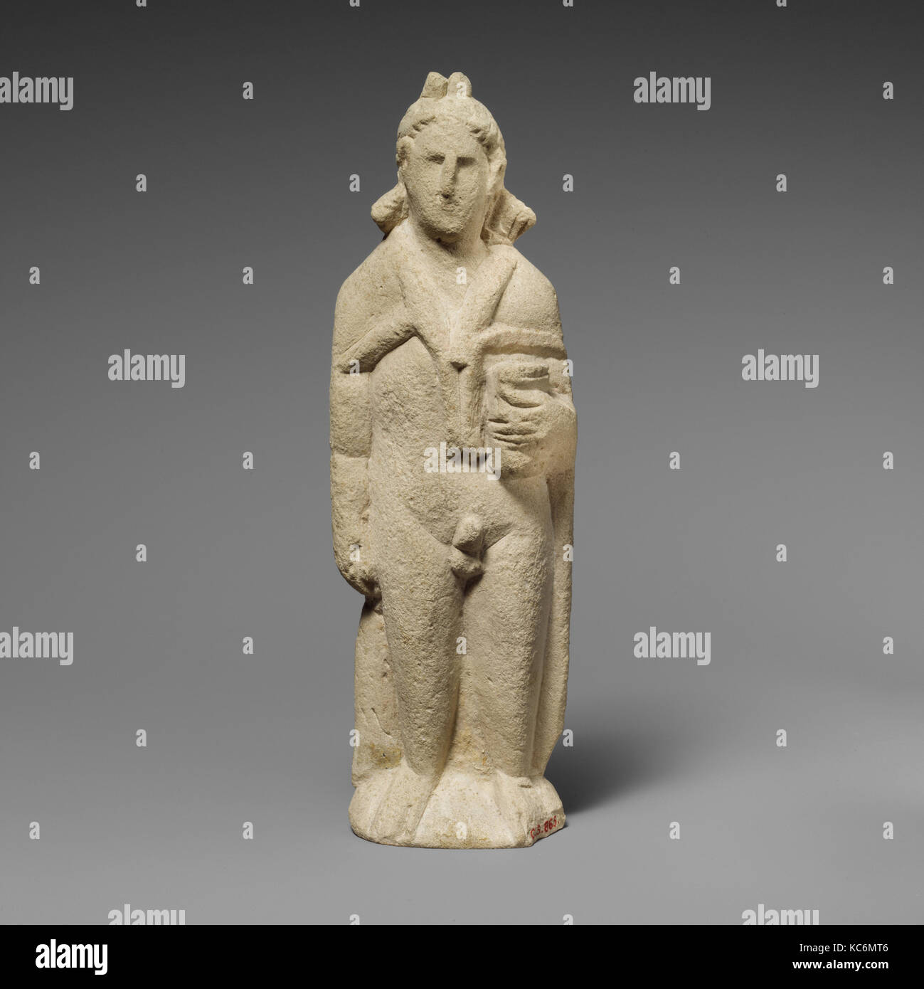Limestone statuette of Pan, Hellenistic, 310–30 B.C., Cypriot, Limestone, Overall: 9 × 3 × 1 1/2 in. (22.9 × 7.6 Stock Photo
