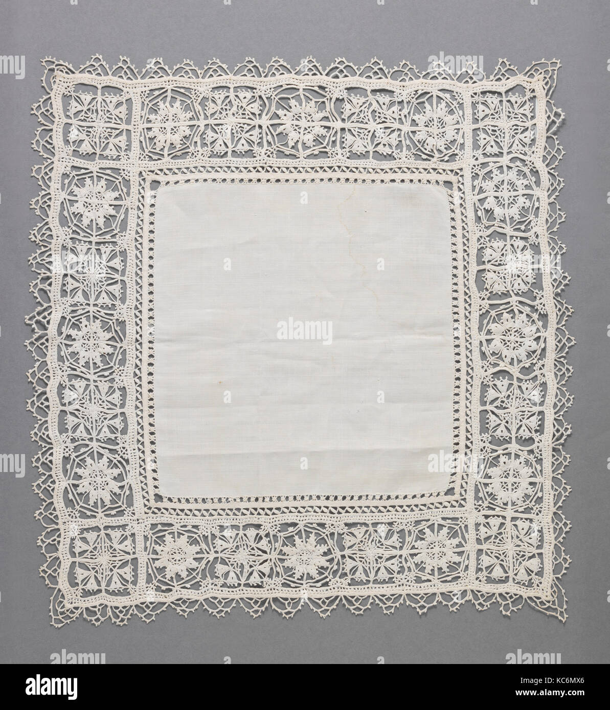 Cover, 17th century, Italian, Linen, needle lace, L. 17 x W. 17 inches, Textiles-Laces - Stock Image