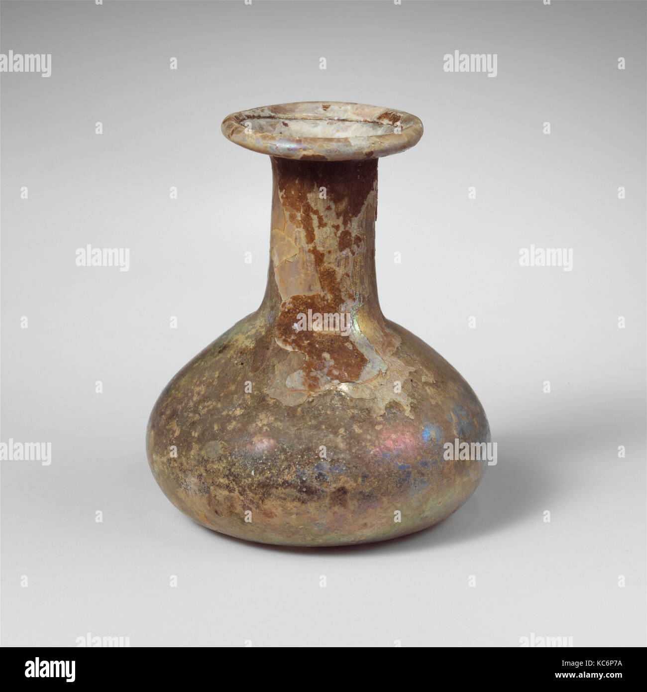 Glass perfume bottle, Mid Imperial, 2nd–3rd century A.D., Roman, Glass; blown, Overall: 2 9/16 in. (6.5 cm), Glass, - Stock Image