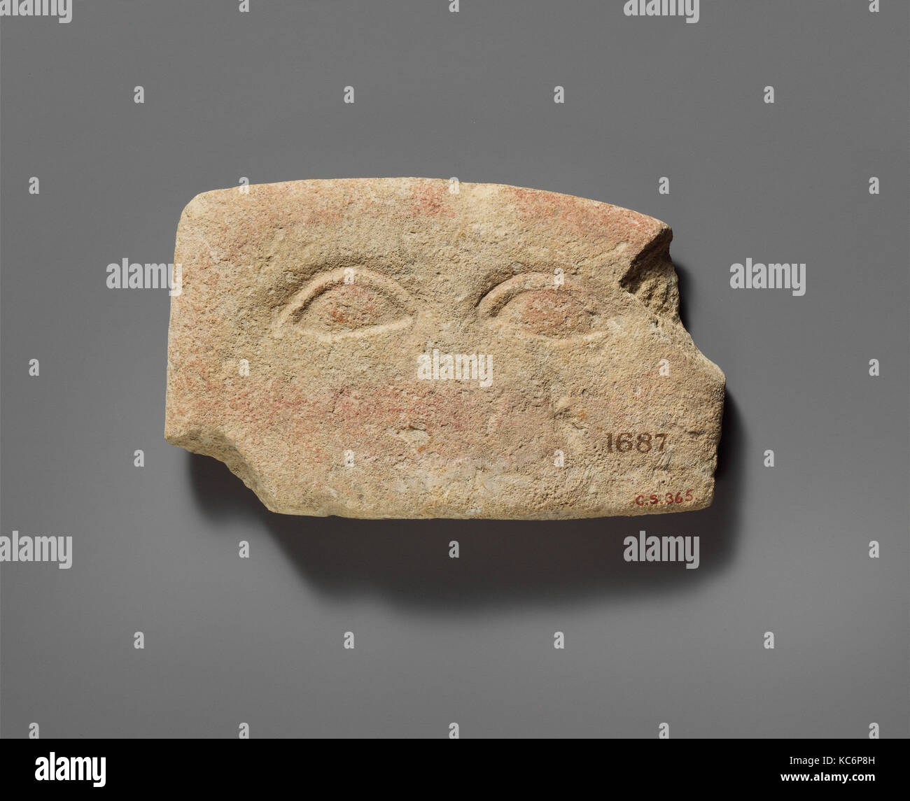 Limestone plaque with two eyes, Classical, 480–310 B.C., Cypriot, Limestone, Overall: 2 15/16 x 4 13/16 x 3/4 in. Stock Photo