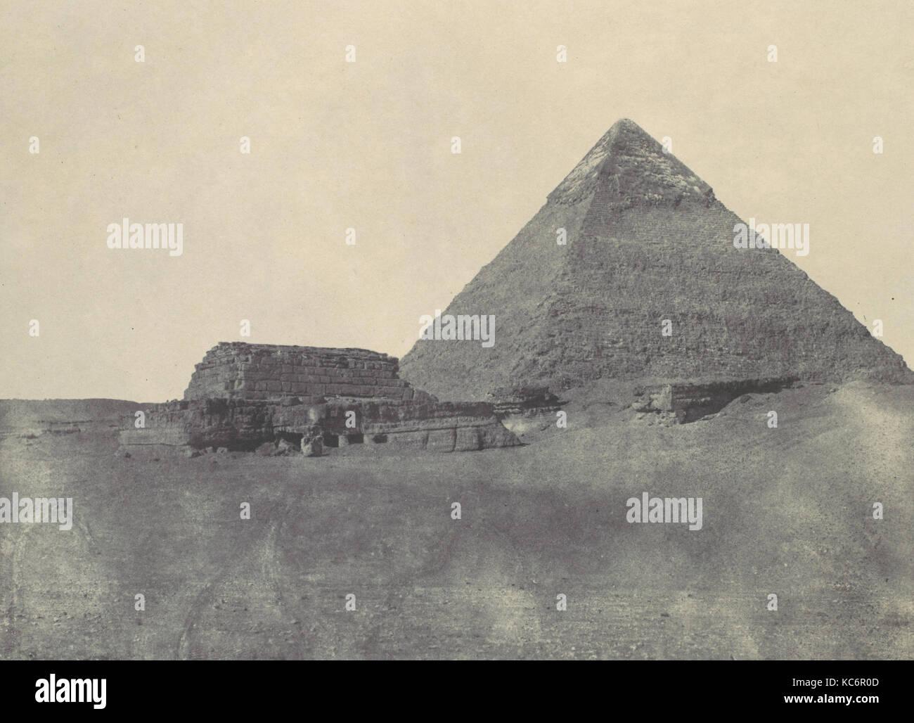 Égypte Moyenne. Pyramide de Chéphren, Maxime Du Camp, 1850 - Stock Image