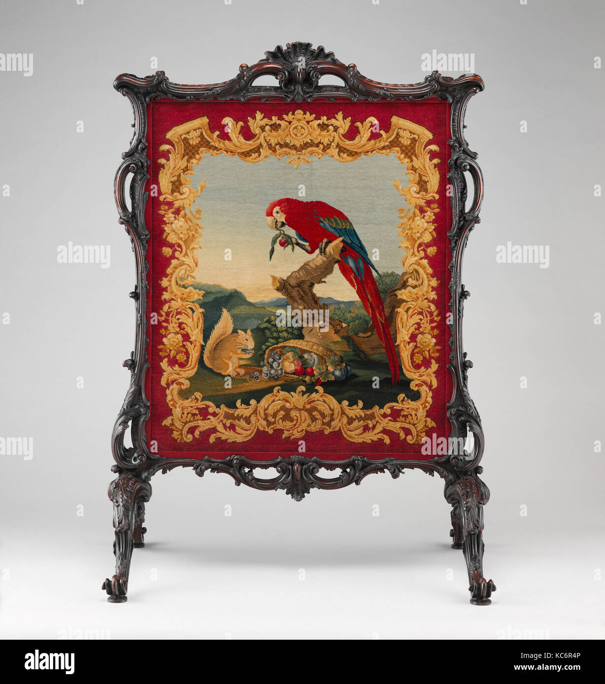 Cheval fire screen, Panel attributed to Thomas Moore, ca. 1755–60 - Stock Image