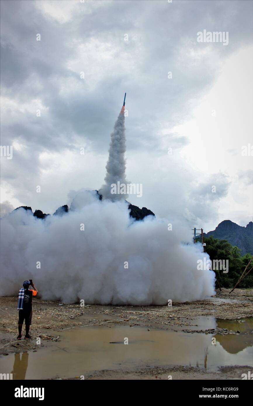 Annual rocket festival in Vang vieng, Lao - Stock Image