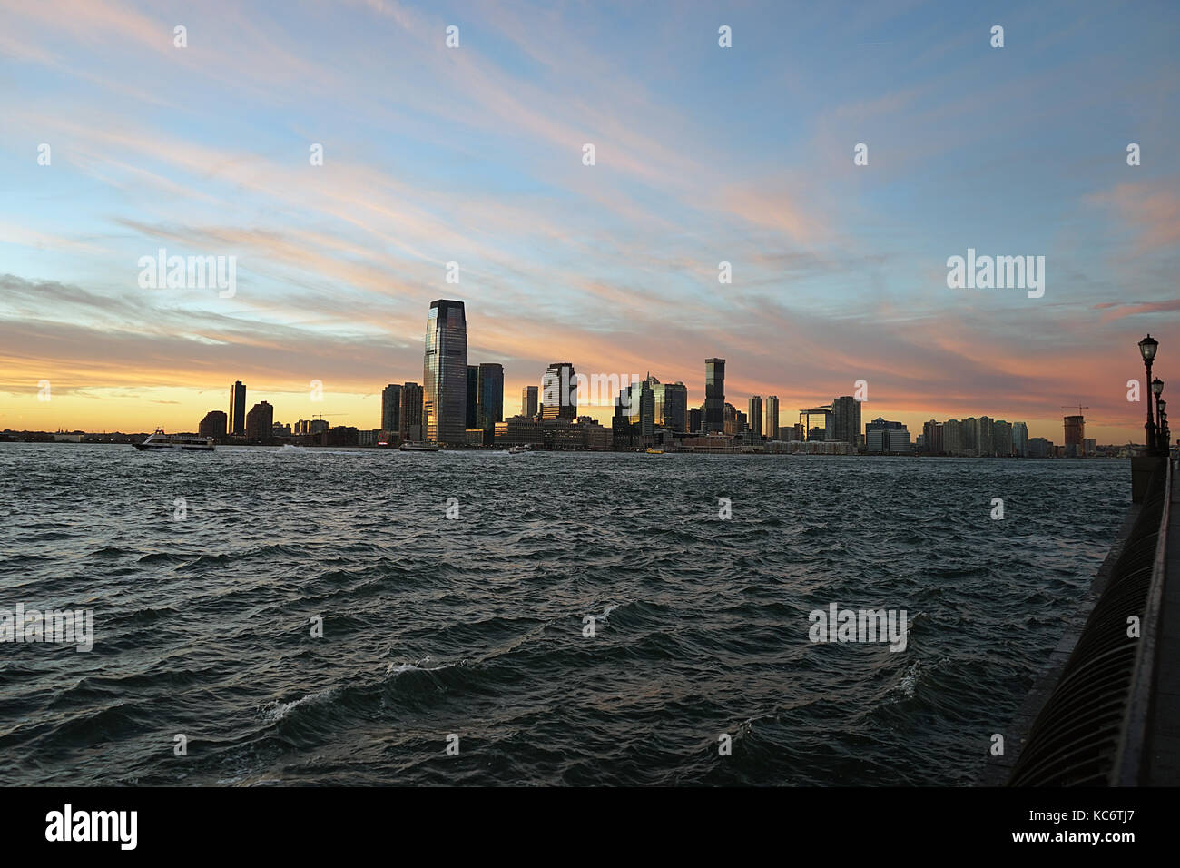 New Jersey from Manhattan New York side with River . - Stock Image