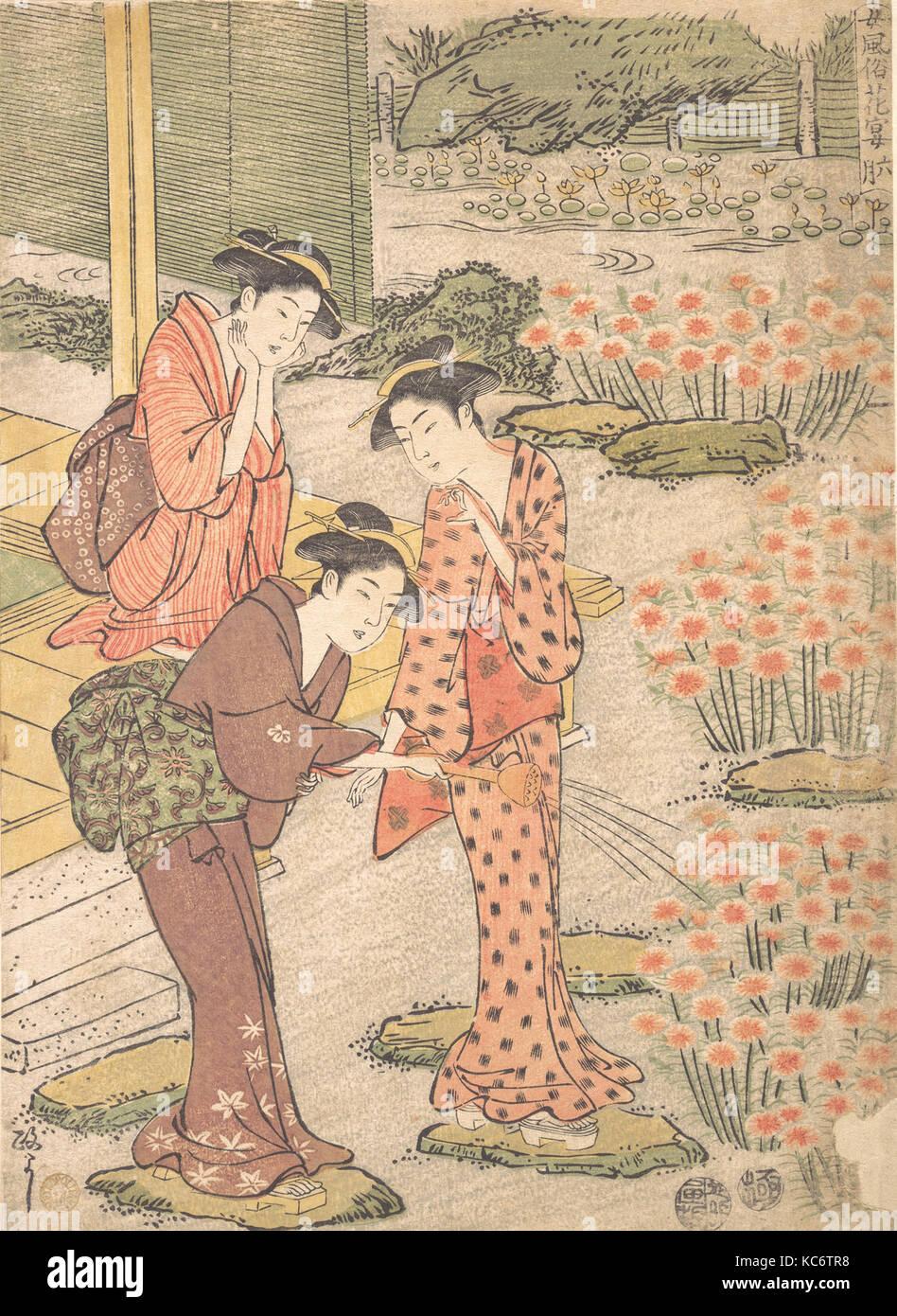 Three Young Women in a Garden where Nadeshiko Pinks are Growing, Kuwagata Keisai, ca. 1790 - Stock Image