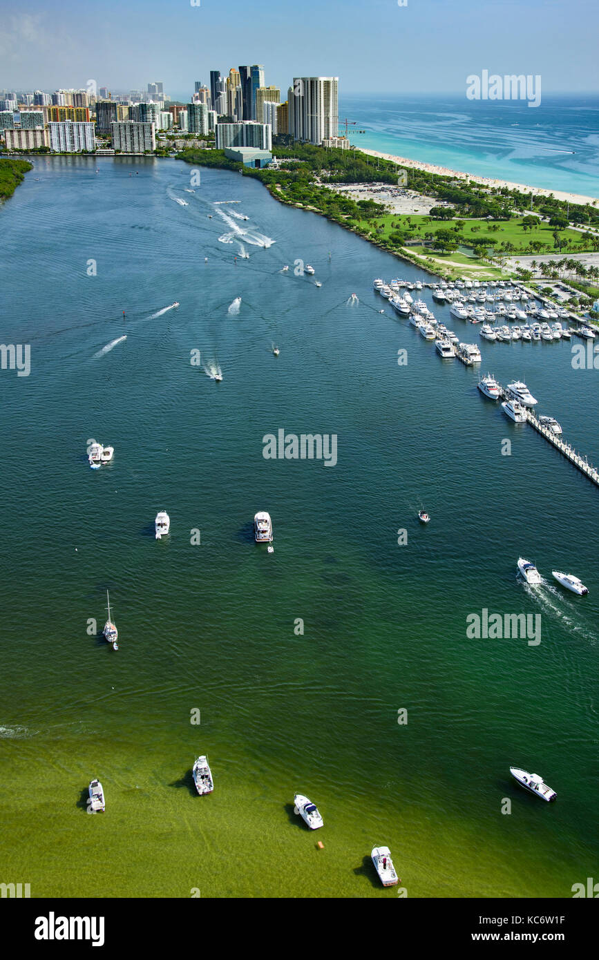 USA, Florida, Miami, Aerial view of bay of water and city buildings - Stock Image