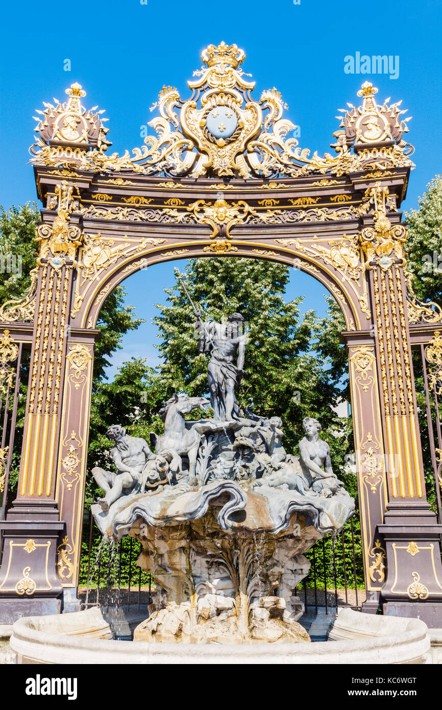 France, Grand Est, Nancy, Fountain on Place Stanislas - Stock Image