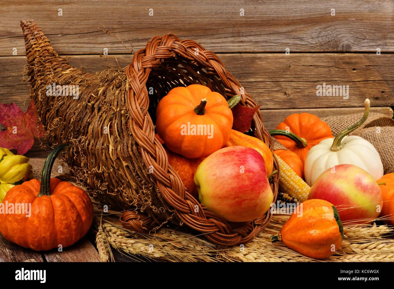 Thanksgiving cornucopia filled with pumpkins and fruit against a rustic wooden background - Stock Image
