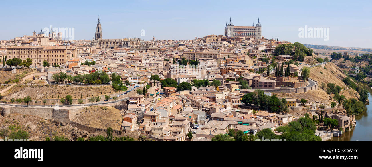 Spain, Castile-La Mancha, Panoramic view of Toledo - Stock Image