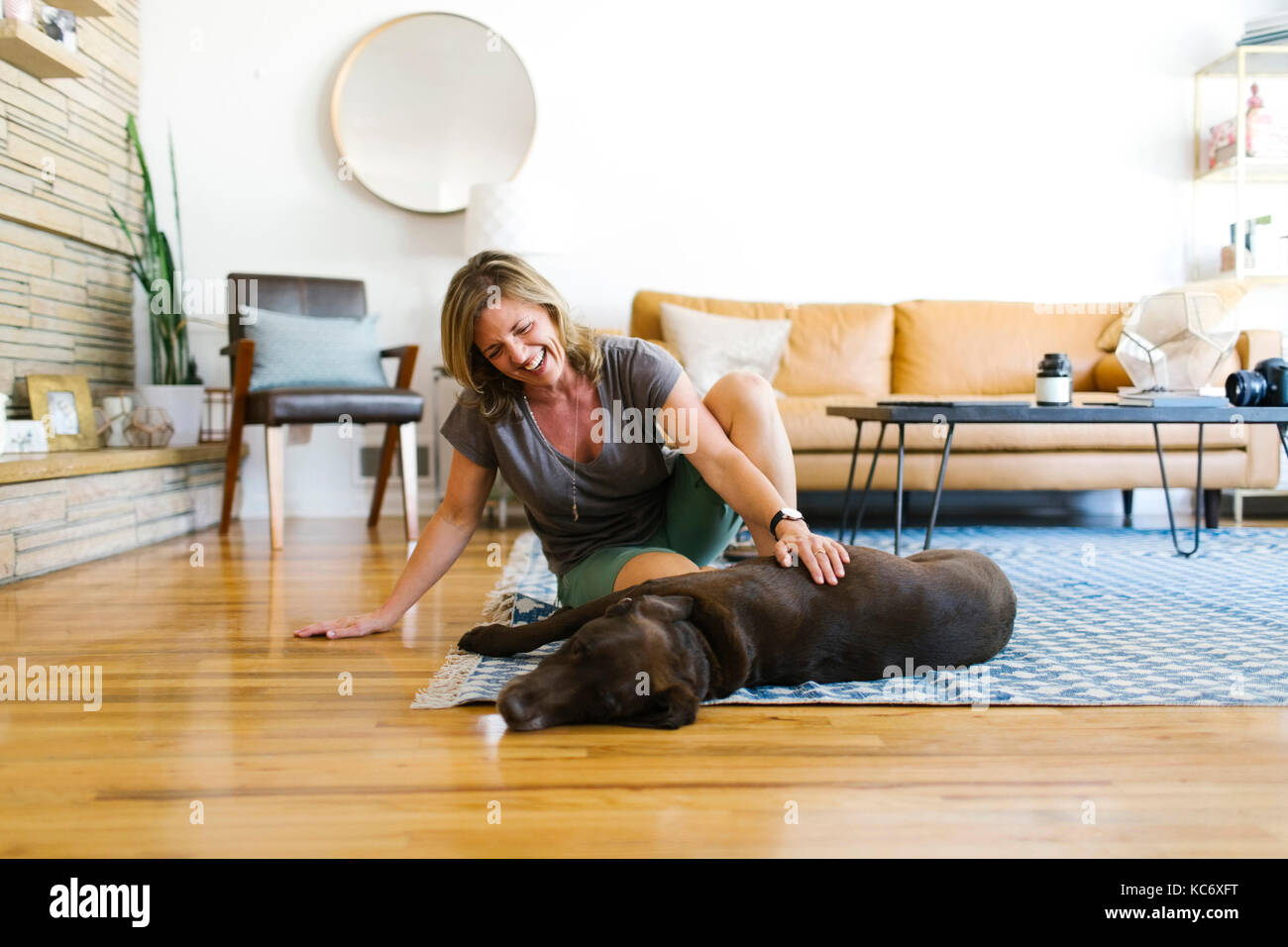 Woman stroking Labrador Retriever in living room - Stock Image
