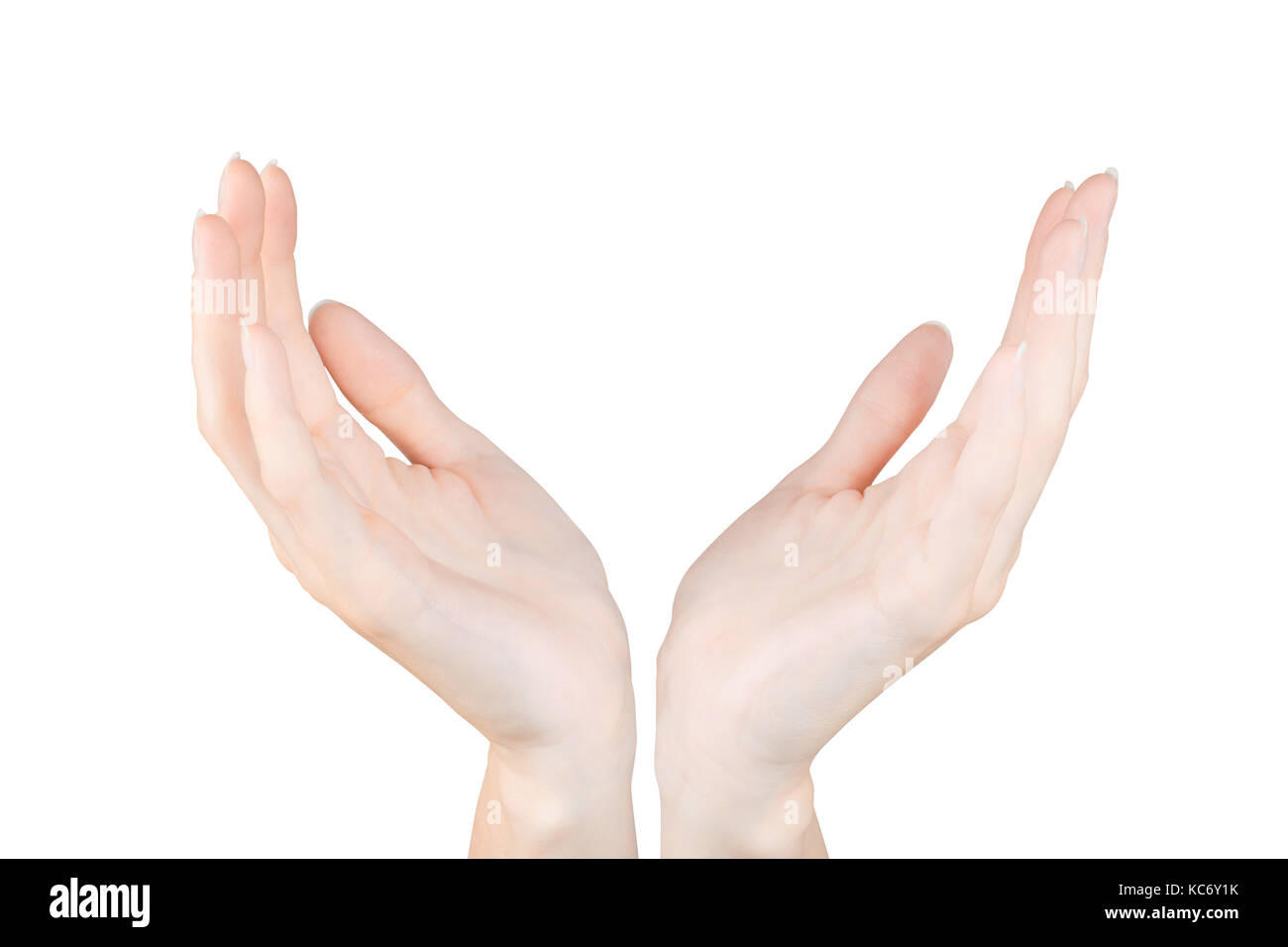 Two woman hands holding or protecting something. Isolated on white, clipping path included - Stock Image
