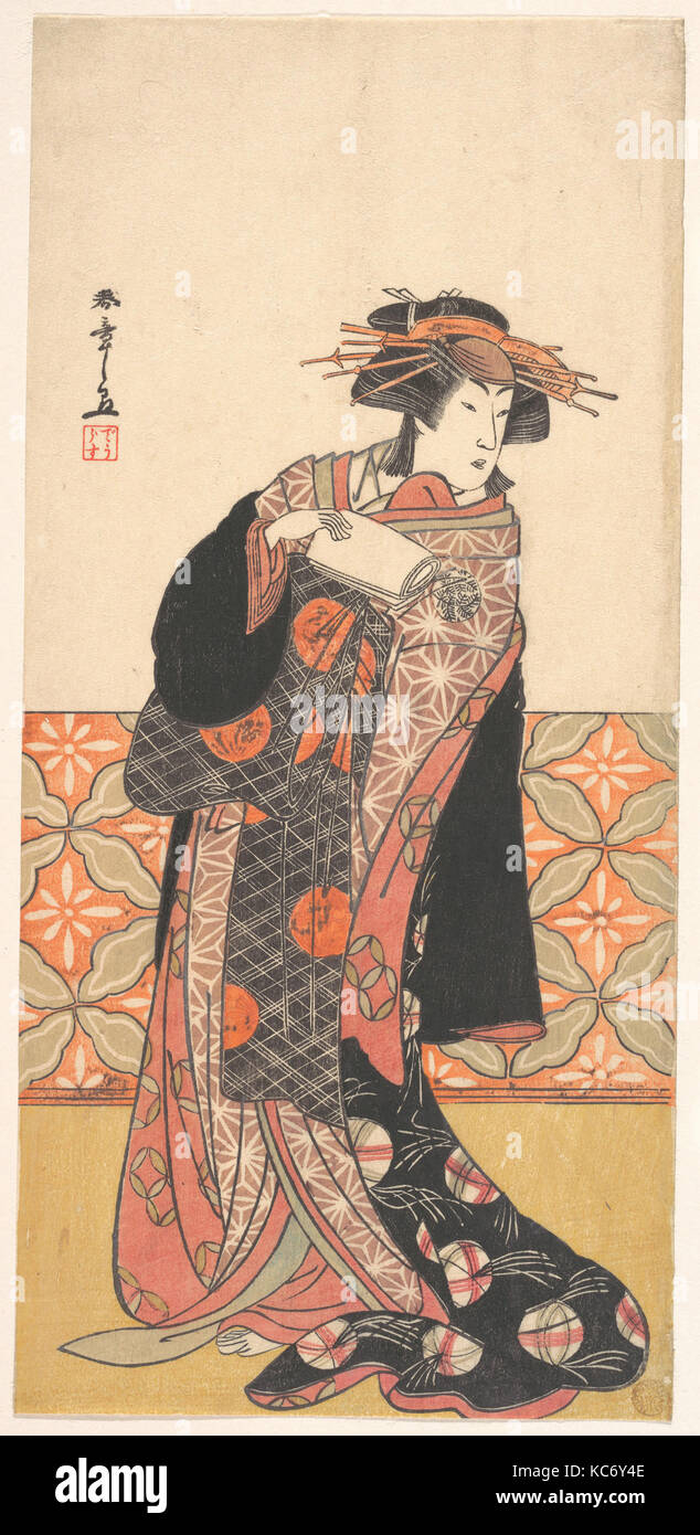 Nakamura Riko as Richly Clad Courtesan Standing in a Room, Katsukawa Shunshō, ca. 1778 - Stock Image