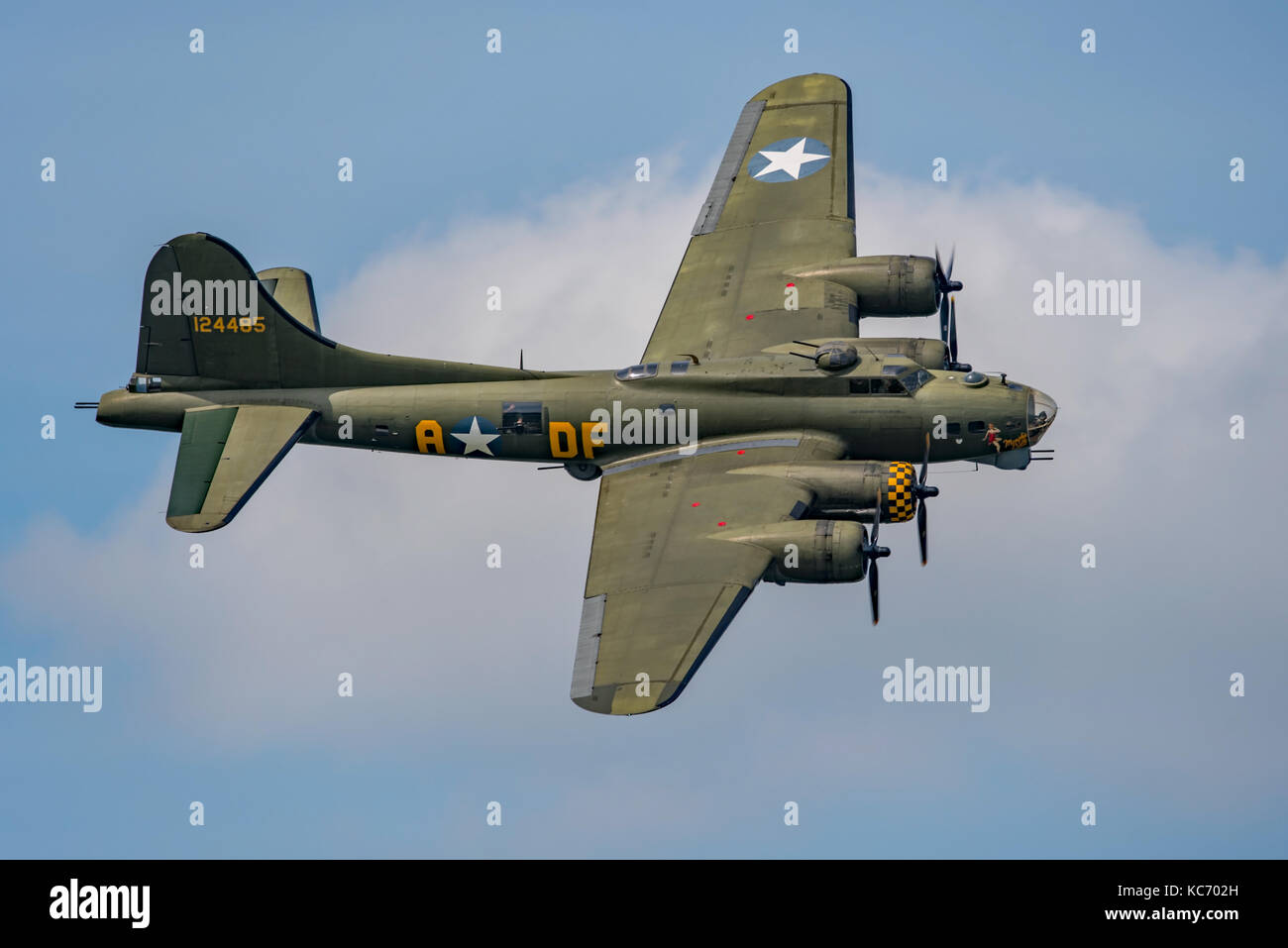 B-17 Flying Fortress in flight at 2017 Dunsfold Airshow. Stock Photo