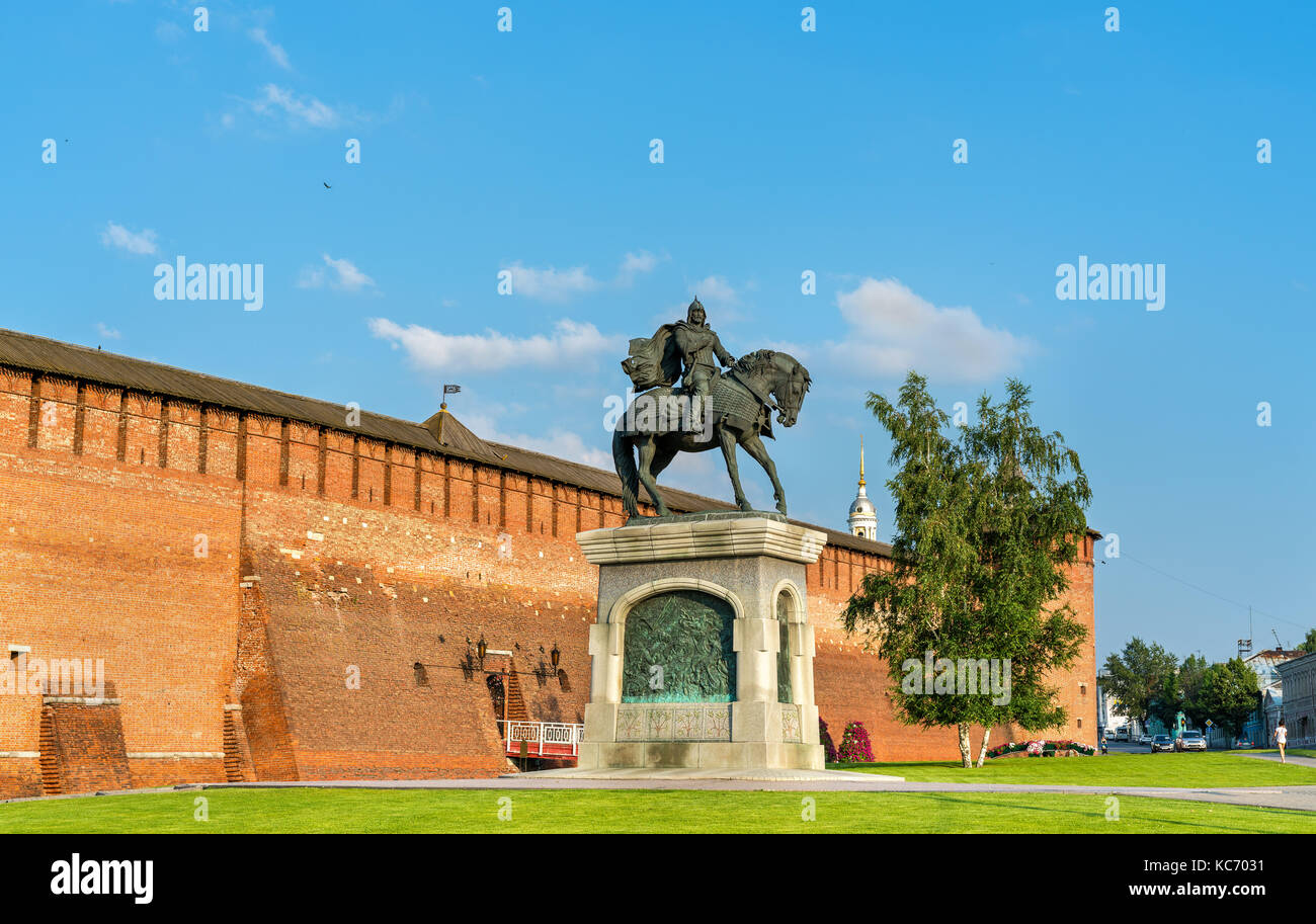 Equestrian monument to Dmitry Donskoy in Kolomna, Moscow Region, Russia Stock Photo