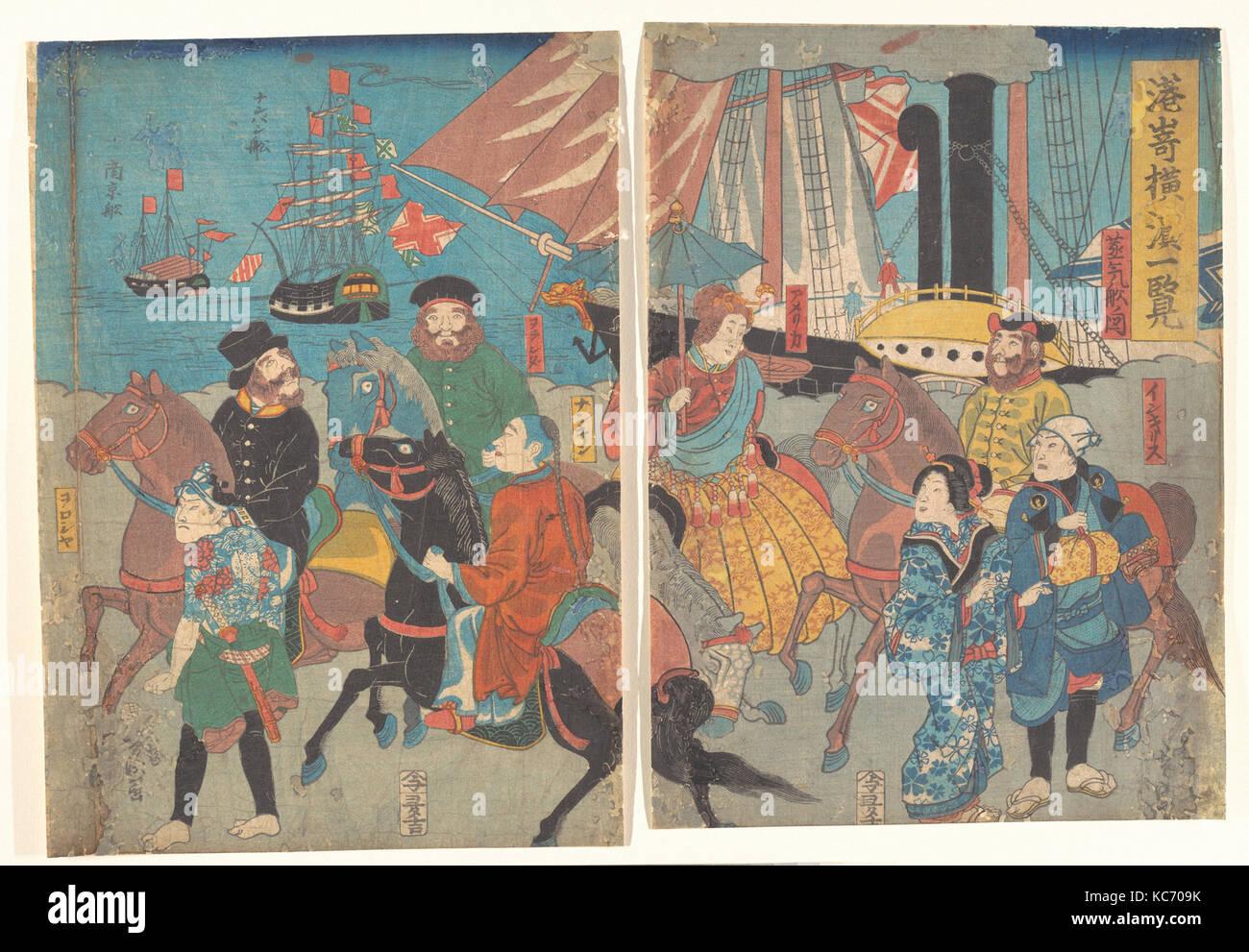 港崎横浜一覧, A Glance at Miyosaki, Yokohama, Utagawa Yoshimori, ca. 1860 - Stock Image