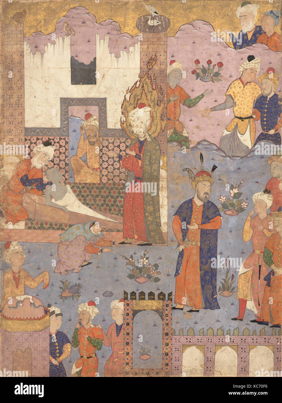 'Muhammad Revives the Sick Boy', Folio from a Falnama (Book of Omens) of Ja'far al-Sadiq, 1550s - Stock Image