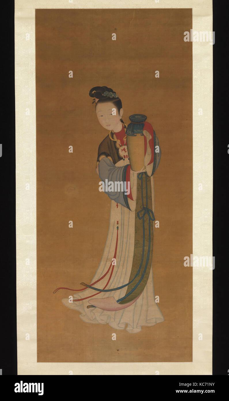 清   佚名   持瓶仕女   軸, Girl Bringing Jar of Wine, Unidentified Artist Chinese, 18th century or later, 18th century - Stock Image