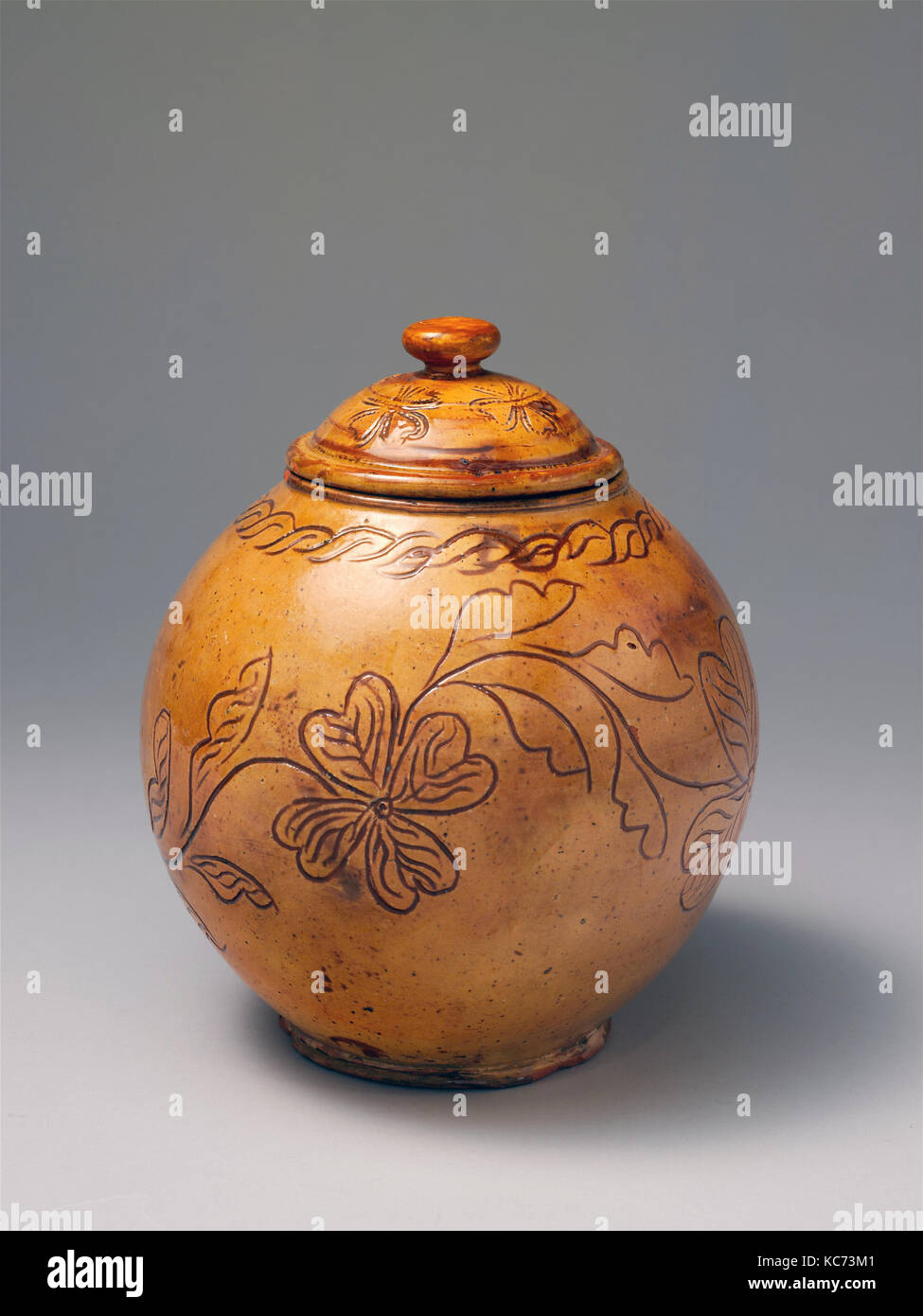Covered jar, Attributed to Jacob Scholl, ca. 1830\u201340 Stock Photo