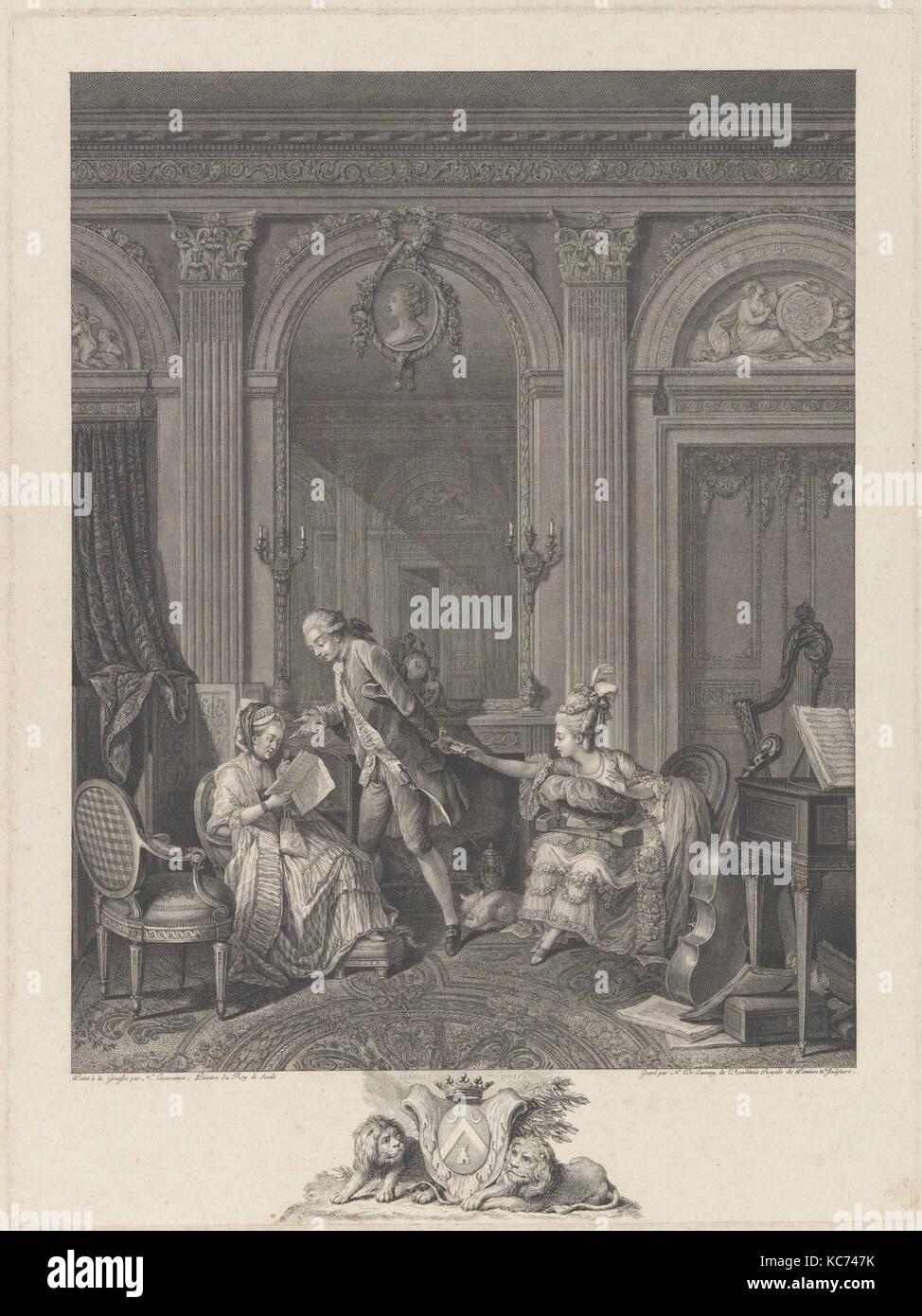 Le Billet doux, 1778, Etching and engraving, Prints, Nicolas de Launay (French, Paris, 1739–1792), after Nicolas - Stock Image