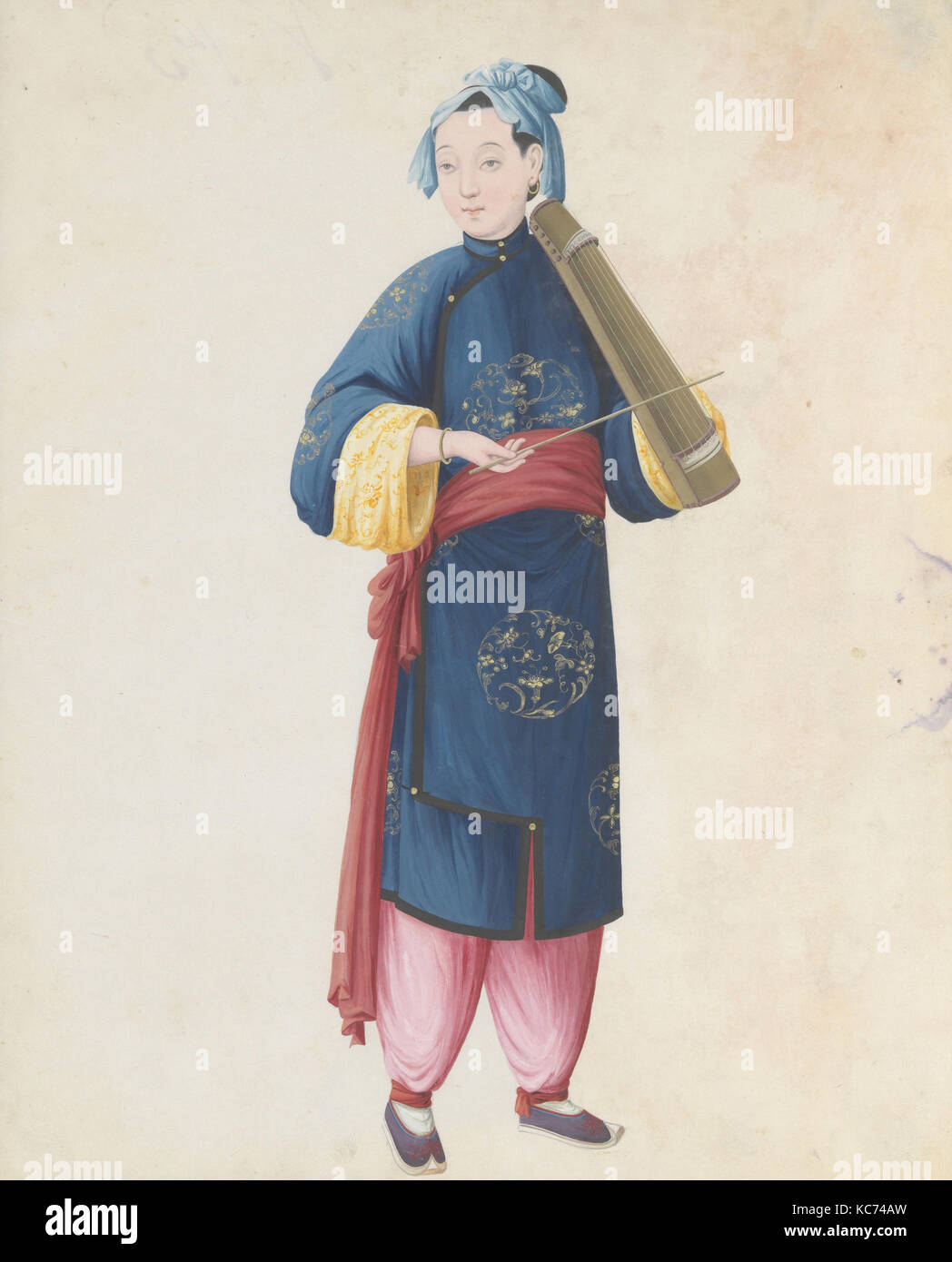 Watercolor of musician playing bowed qin(?), late 18th century - Stock Image