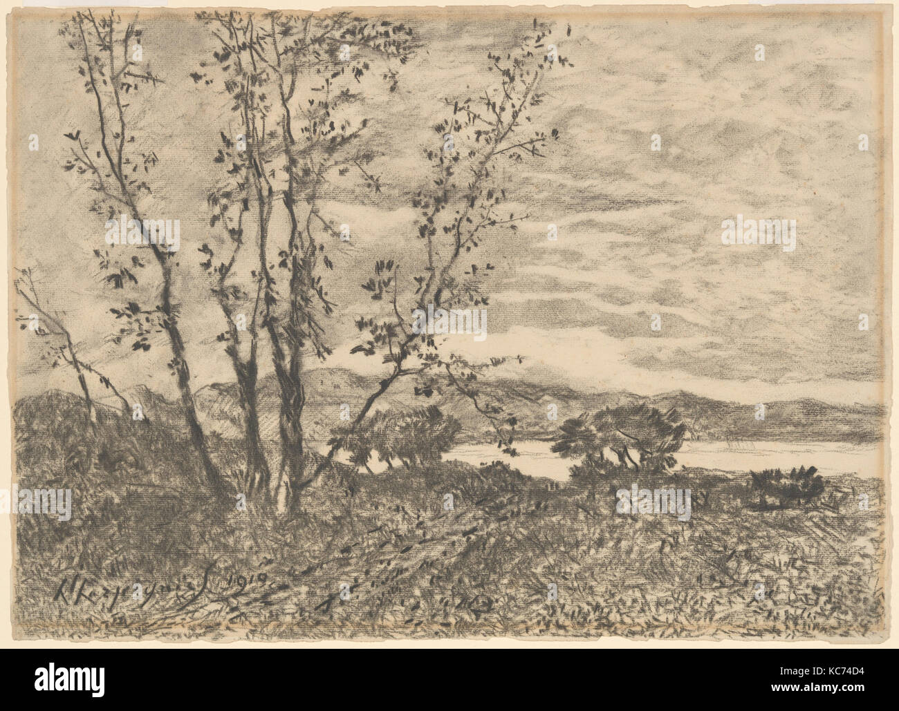 Le Cap Martin, 1910, Charcoal on laid paper, 15 1/4 x 21 1/16 in. (38.7 x 53.5 cm), Drawings, Henri-Joseph Harpignies - Stock Image
