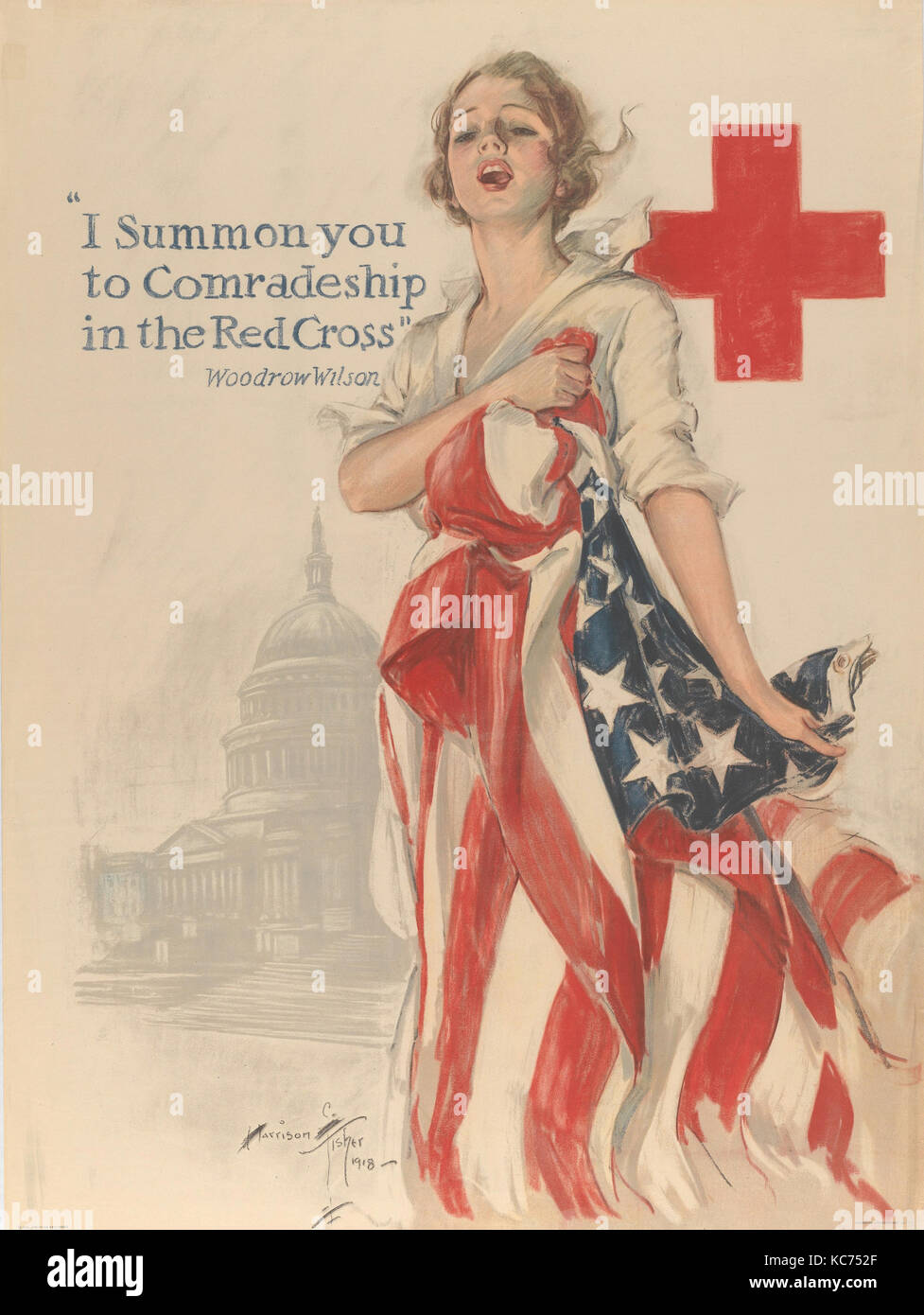 I Summon You to Comradeship in the Red Cross, Harrison Fisher, 1918 - Stock Image