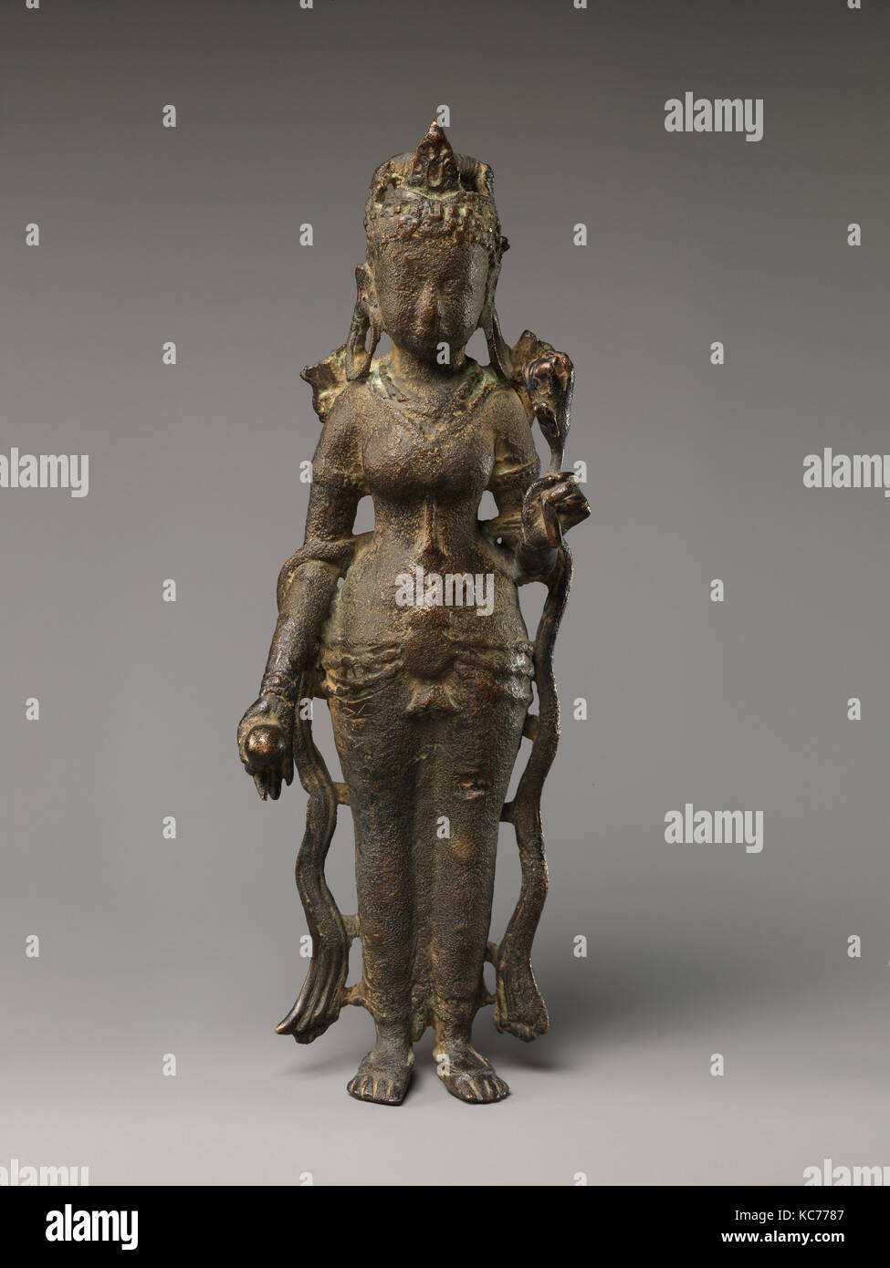 Tara, ca. 7th century, North India (possibly Uttar Pradesh), Copper alloy, H. 12 in. (30.5 cm), Sculpture, This - Stock Image