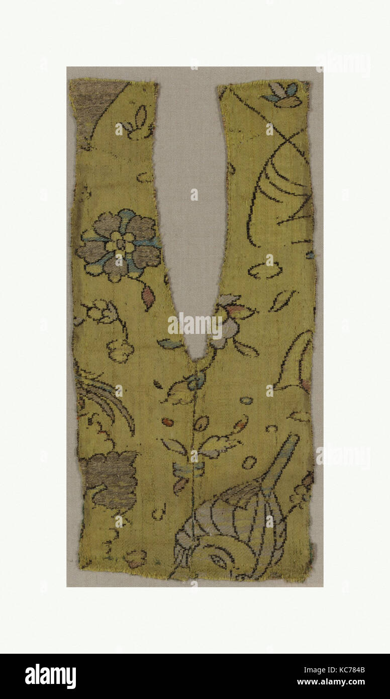 Fragment, 16th century, Attributed to Iran, Silk and metal thread; brocaded, 10 in. high 5.00 in. wide (25.4 cm Stock Photo