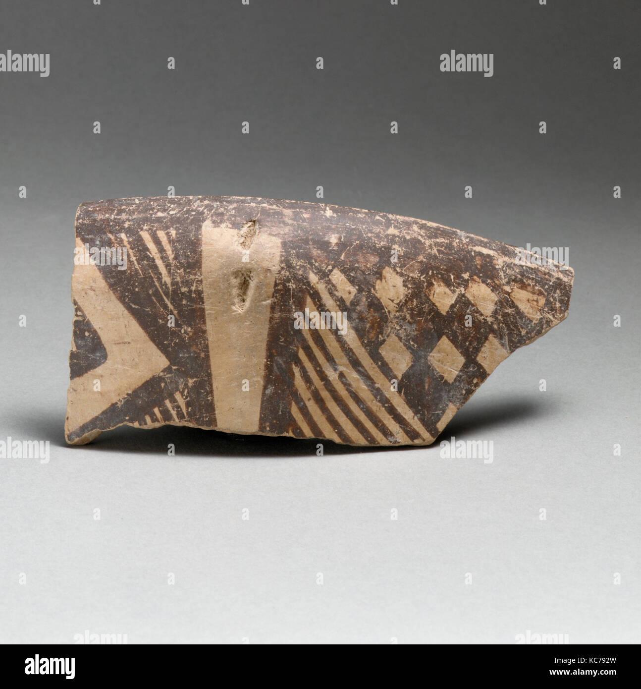 Terracotta rim of a bowl, Late Neolithic, ca. 3800–3300 B.C., Dimini culture, Terracotta, length 5 1/16in. (12.8cm), - Stock Image