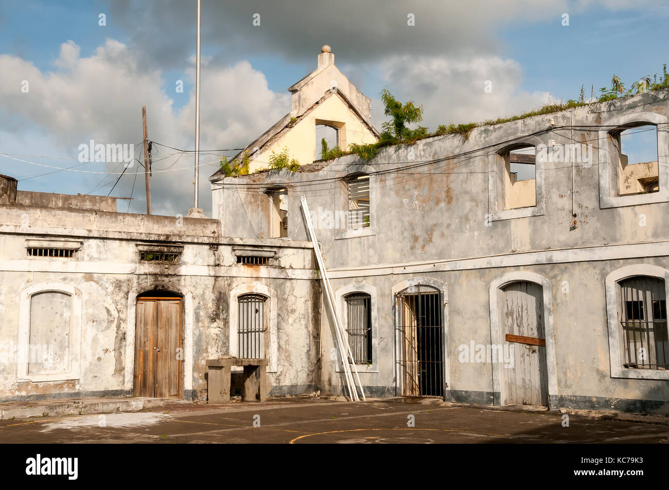 Interior of historic Fort George 175 feet above the horseshoe harbor of St. George's Grenada - Stock Image
