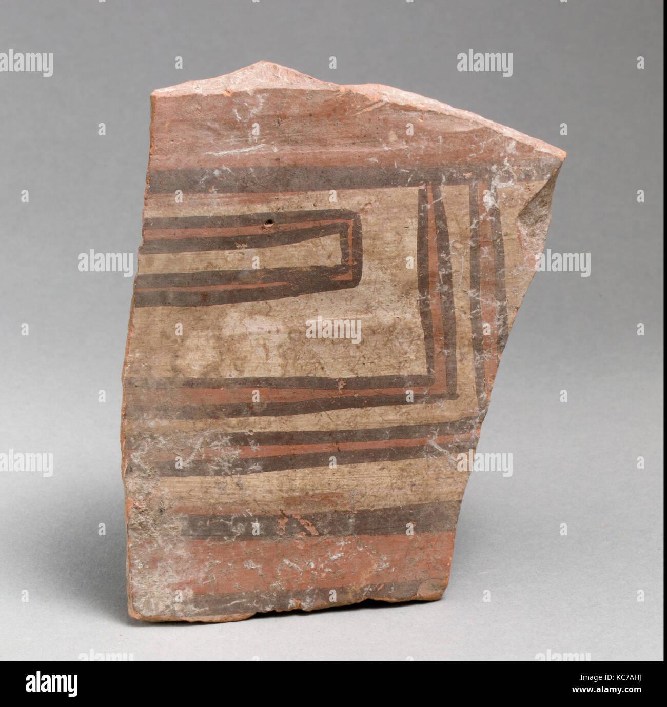 Vase fragment, Archaic, East Greek/Sardis, Lydian, Terracotta, Overall: 4 5/8 x 3 7/16in. (11.7 x 8.8cm), Vases - Stock Image