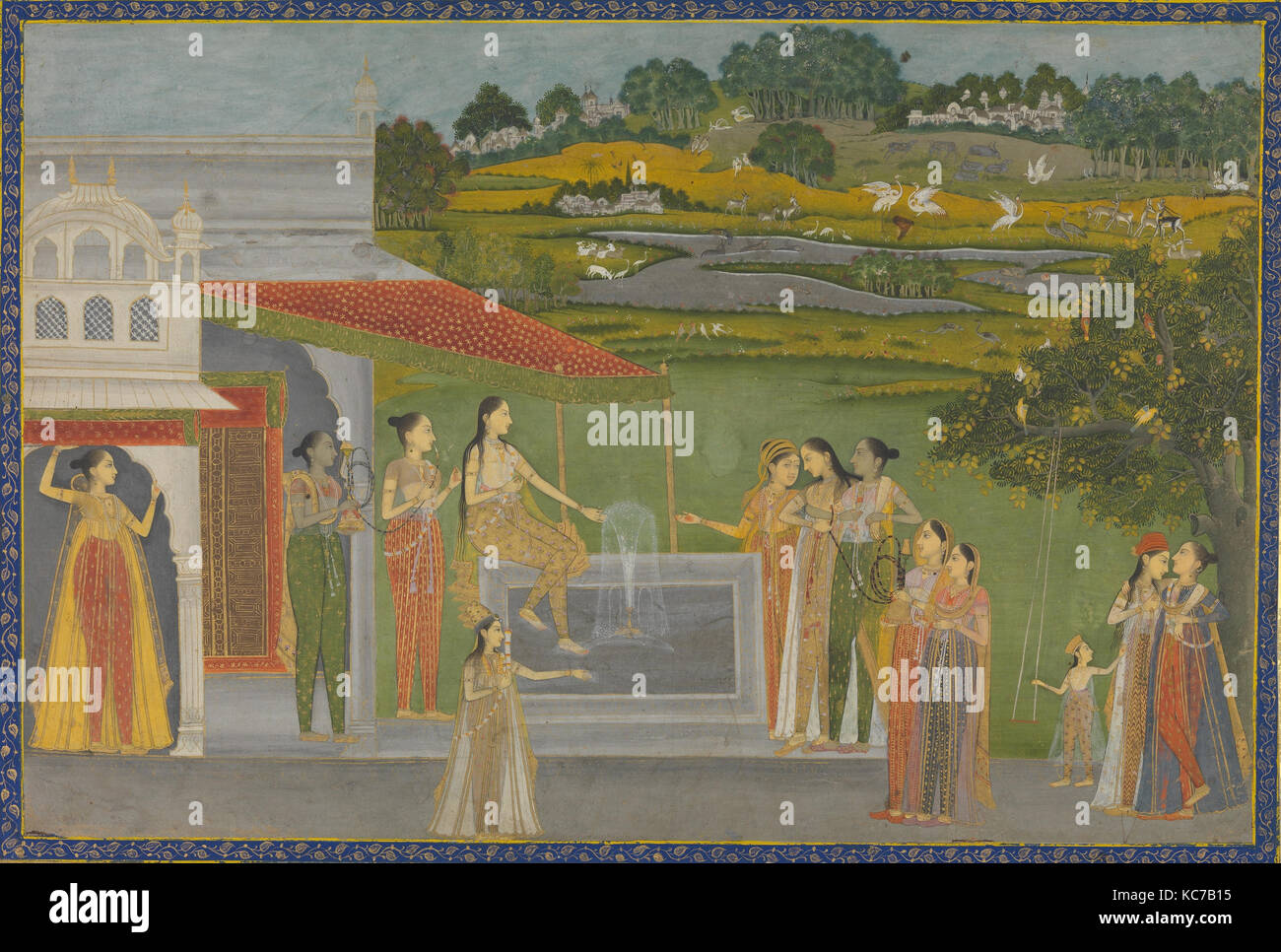 Princesses Gather at a Fountain, ca. 1770, Made in India, Farrukhabad, Opaque watercolor and gold on paper, 9 x - Stock Image