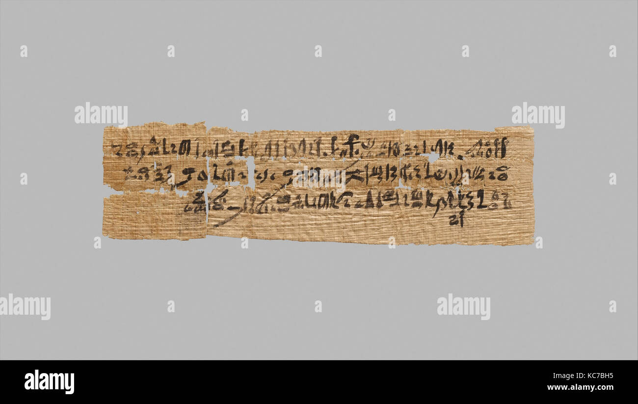 Letter written in hieratic script on papyrus, ca. 1479–1458 B.C - Stock Image
