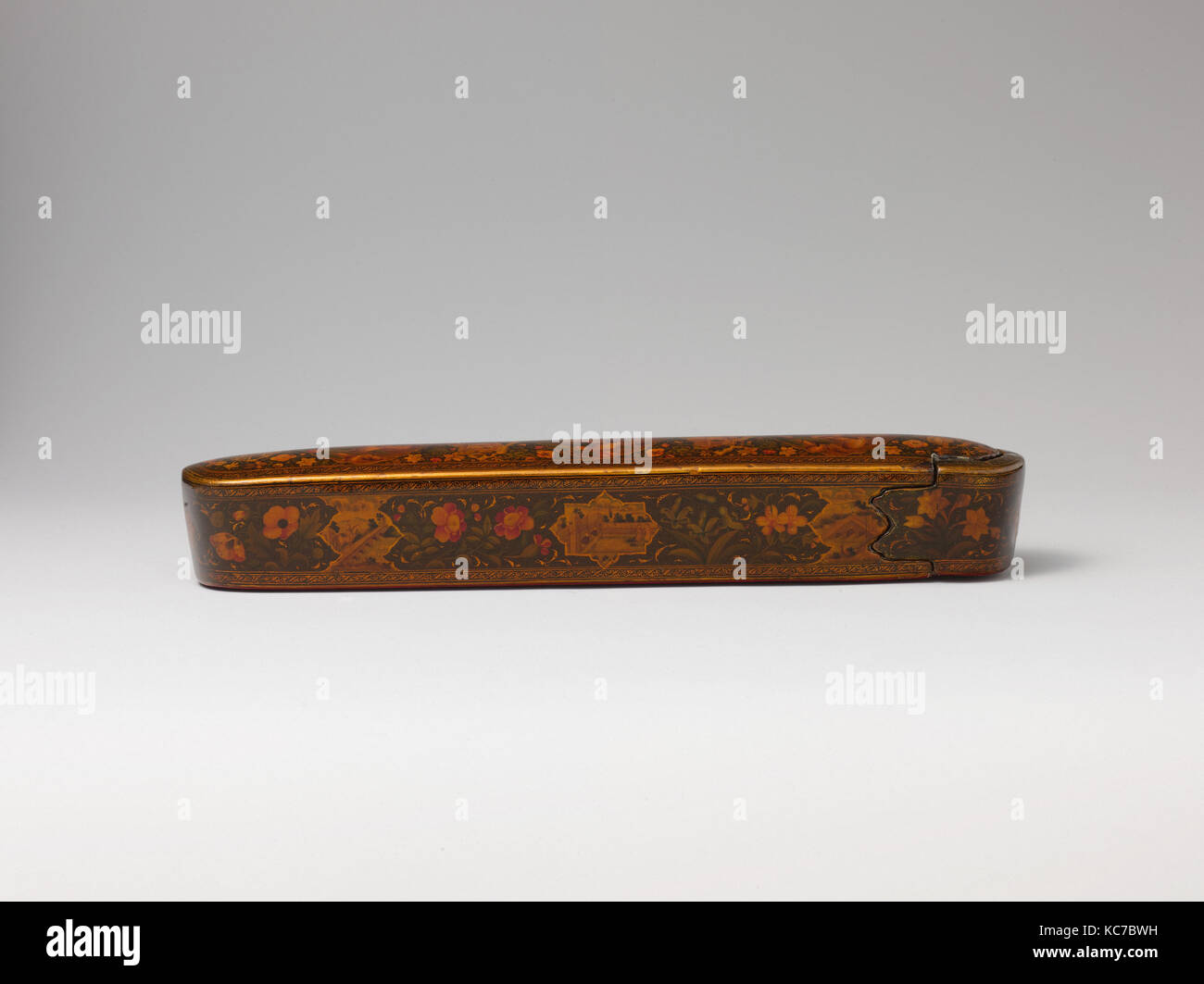 Pen Box with Architectural Cartouches, Ali Ashraf, dated A.H. 1156/ A.D. 1743 Stock Photo