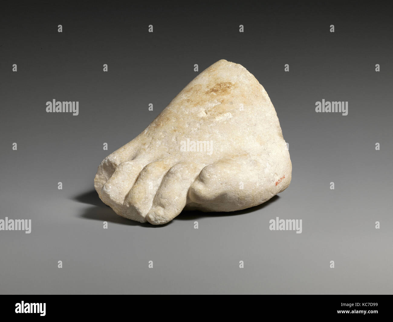 Part of the left foot of a colossal marble statue, 3rd–2nd century B.C - Stock Image