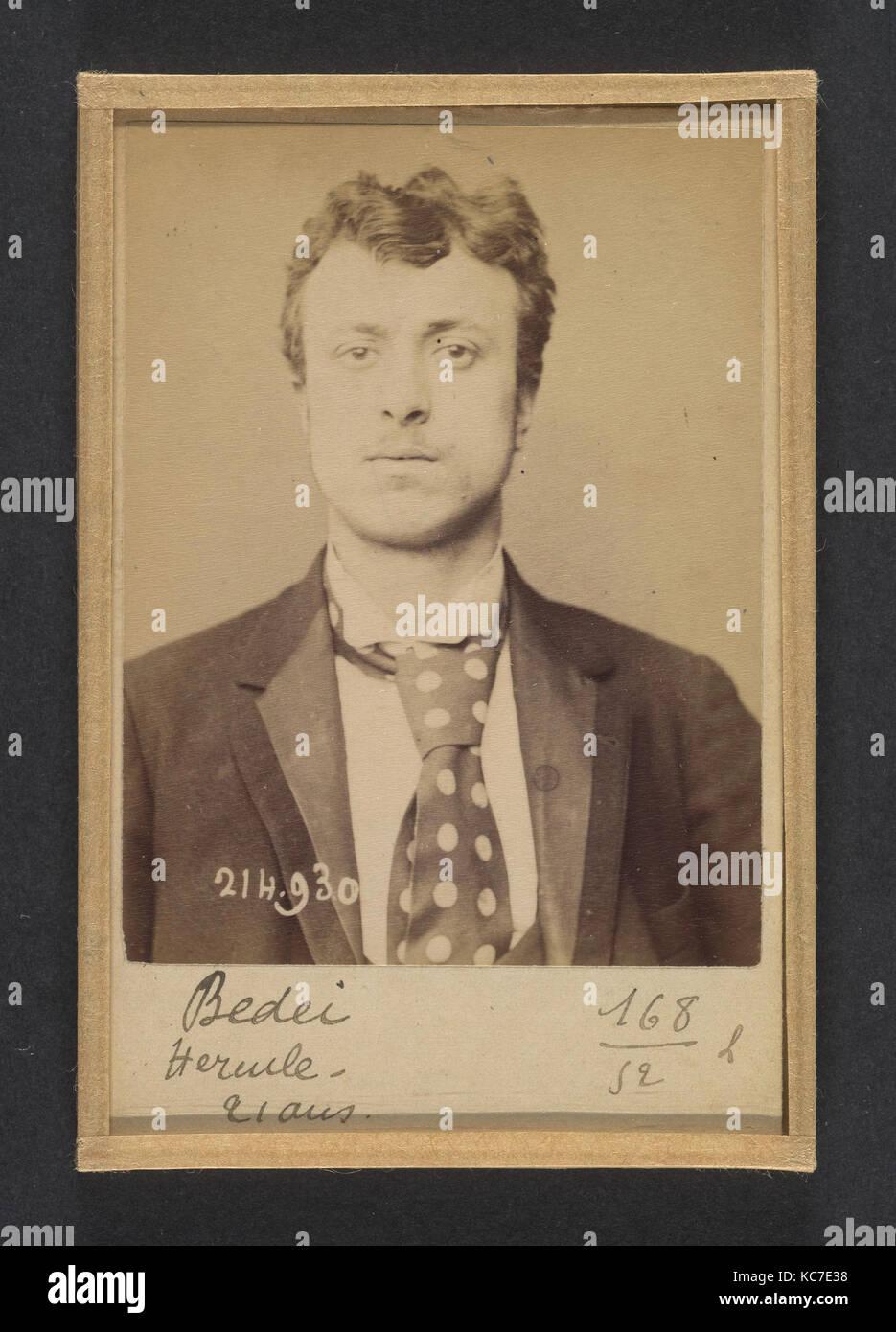 Bedei. Hercule. 21 ans, né à Sorli (Italie). Tailleur d'habits. Anarchiste. 1/3/94., Alphonse Bertillon, - Stock Image