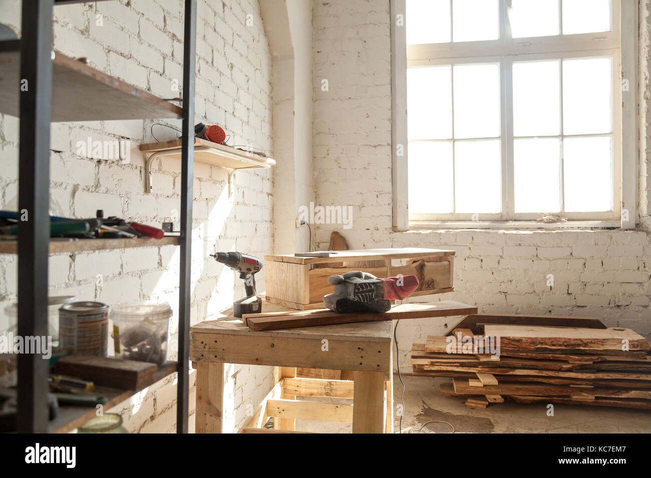 Joinery Shop Interior With Tools And Supplies Woodwork