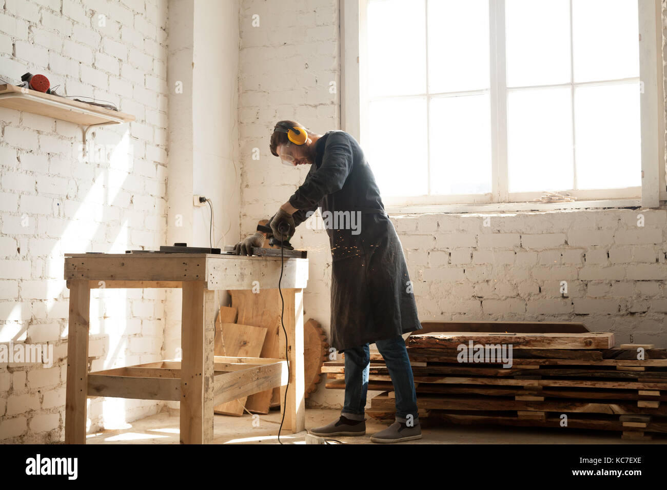 Artisan business opportunity in woodwork workshop - Stock Image