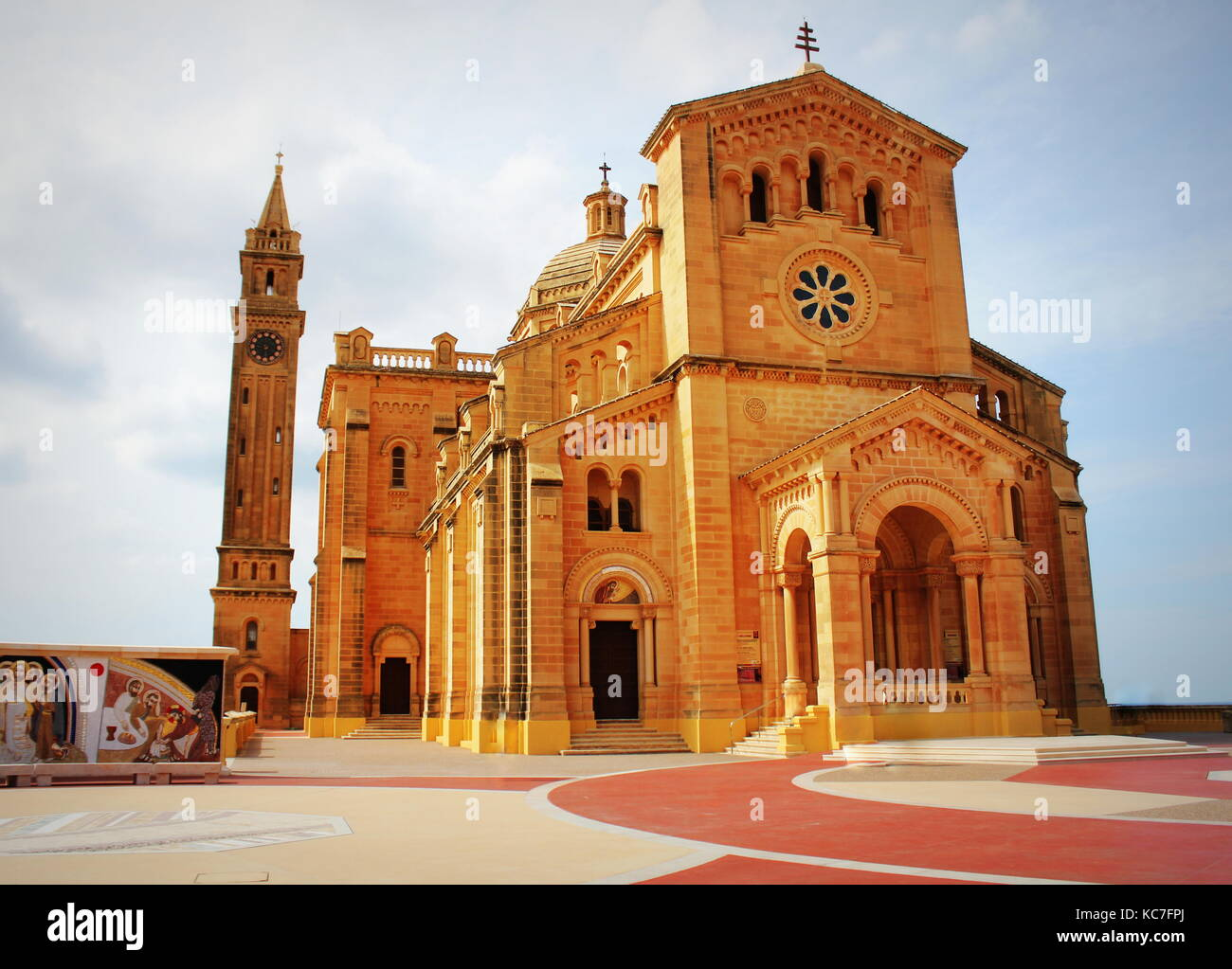 The basilica of the Virgin Of Ta Pinu near the village of Gharb in Gozo - Stock Image