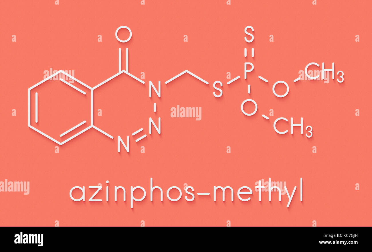 Azinphos-methyl organophosphate insecticide. Acts as neurotoxin through the inhibition of acetylcholinesterase. Stock Photo