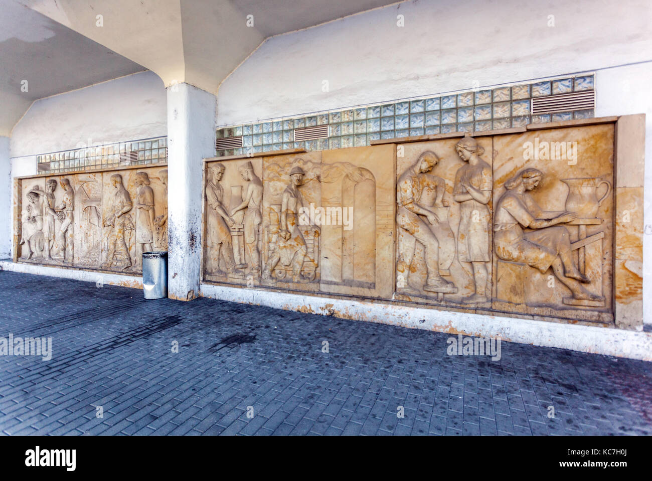 Sculpture from the period of communism, style - socialist realism, Znojmo, railway station, Czech Republic - Stock Image