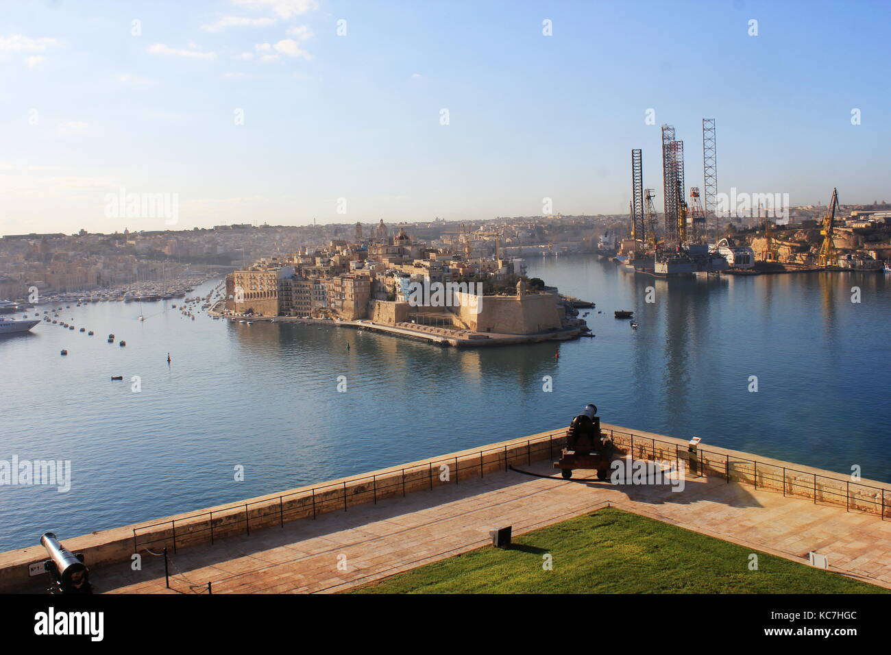 beautiful view from upper Barrakka Gardens of saluting battery and Grand Harbor of Valletta, Malta - Stock Image