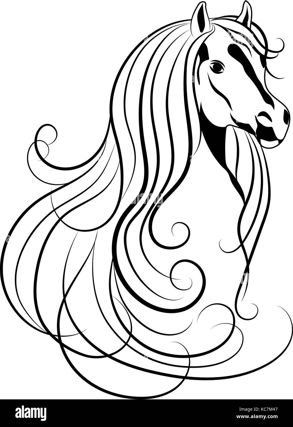 mustang black and white stock photos images alamy 1965 Mustang Clothing vector illustration of horse head in black and white style stock image