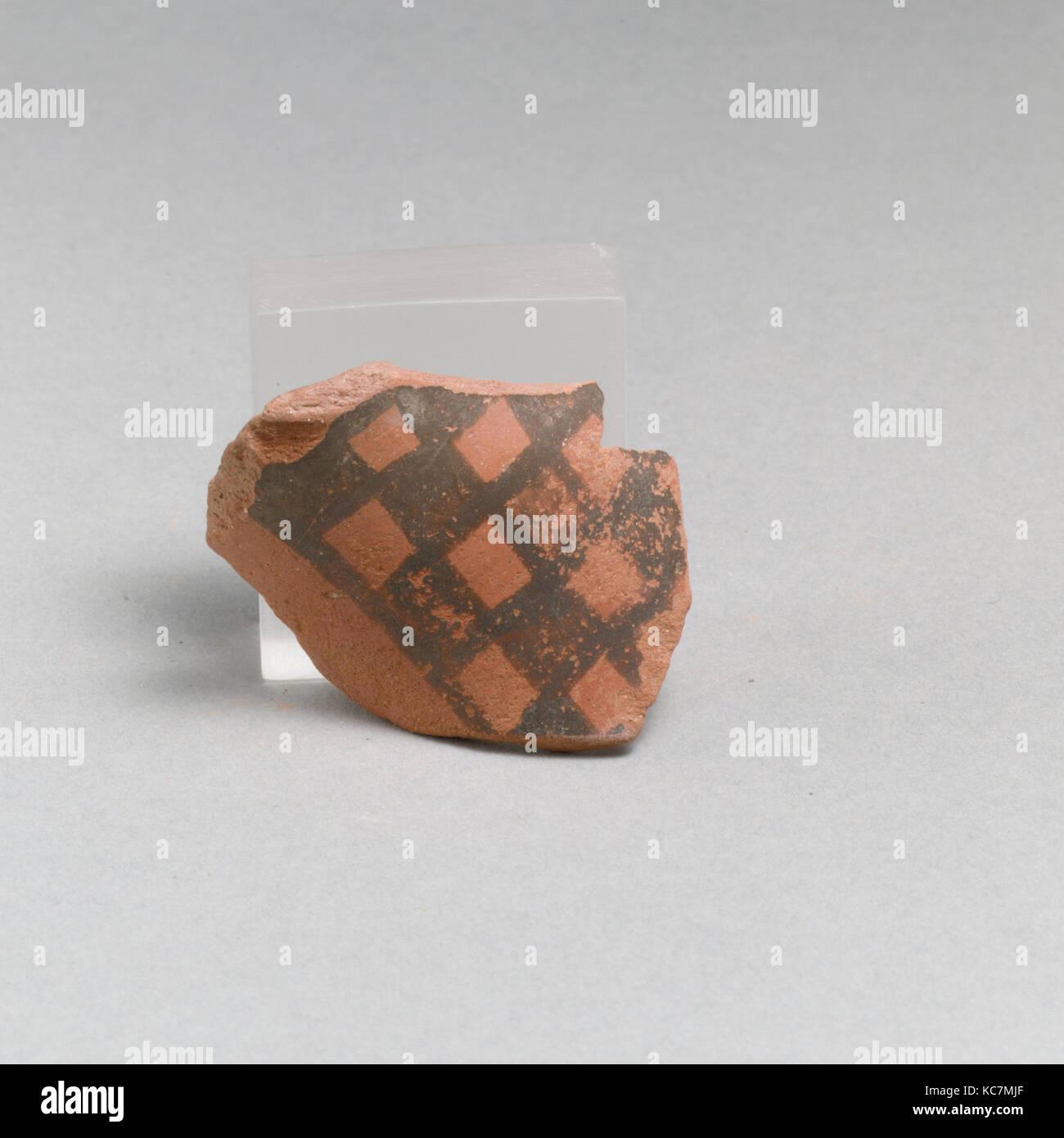 Vase fragment, Geometric, East Greek/Sardis, Lydian, Terracotta, Overall: 1 3/4 x 1 1/2in. (4.4 x 3.8cm), Vases - Stock Image